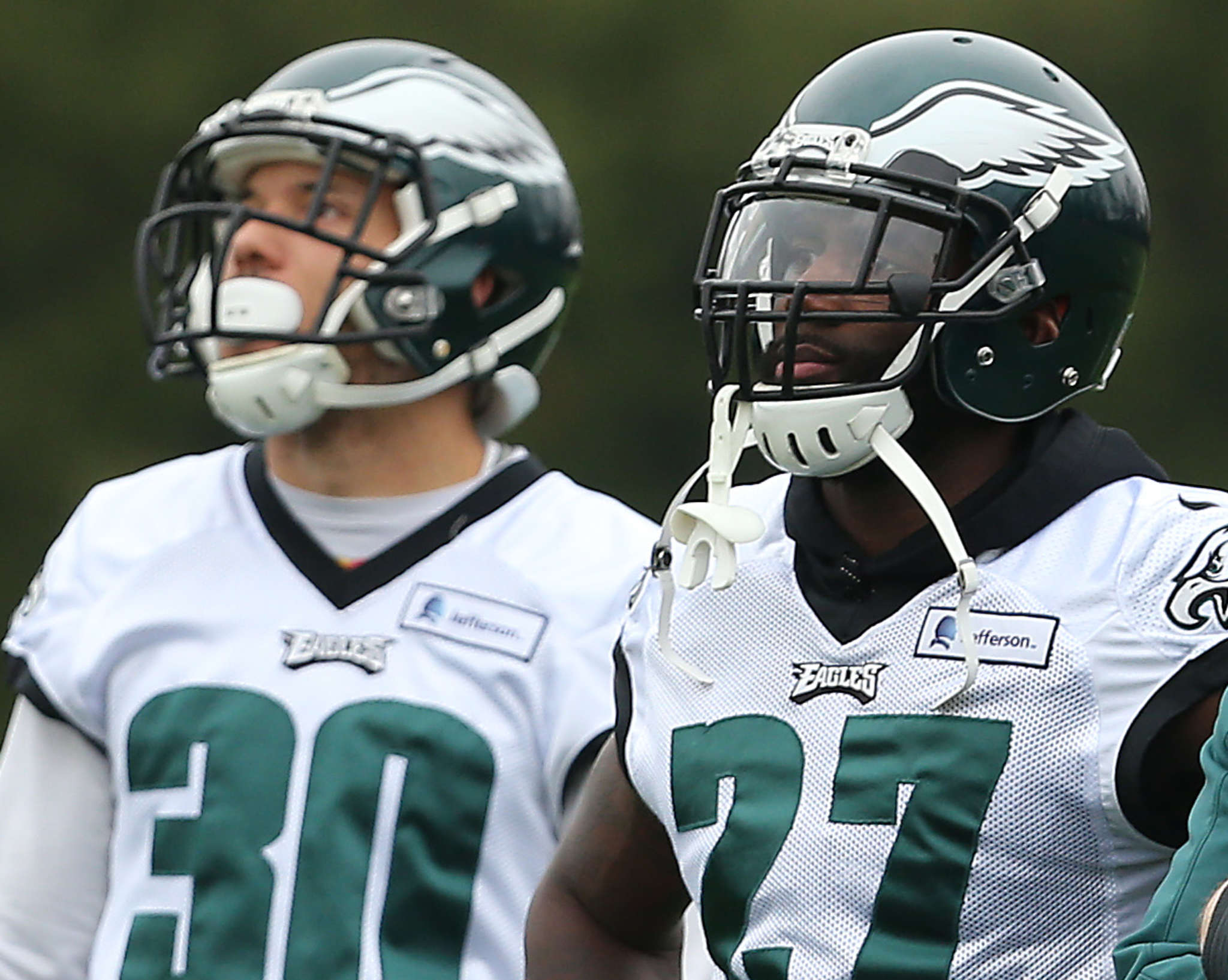 When safety Malcolm Jenkins (right) left practice with a strained hamstring Thursday, Ed Reynolds (left) filled in.