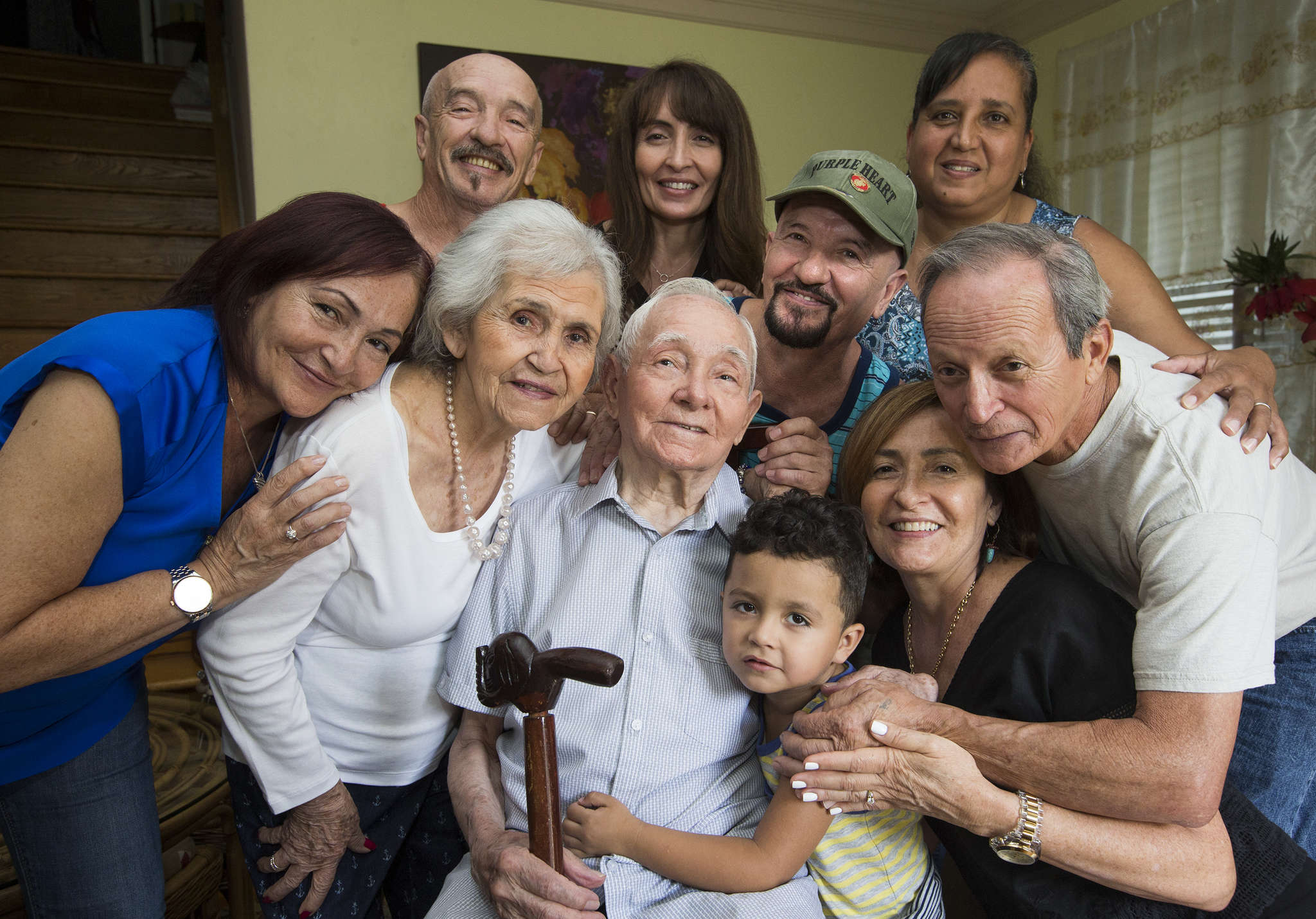 Nunez-Diaz surrounded by family members getting ready for the big day (from left): Maria Nunez, Julio Nunez Jr., wife Maria, Terry Kepler, Benny Nunez, great-grandson Jayden Nunez, Luz Nunez, Edith Nunez, and Frank Nunez.