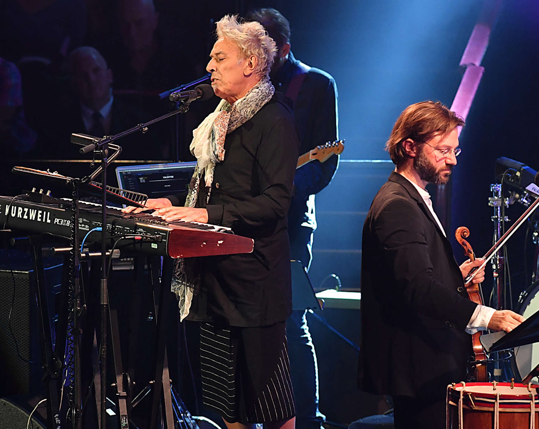 John Cale (left) and André de Ridder perform David Bowie´s music at the Royal Albert Hall in London as part of the BBC Proms.