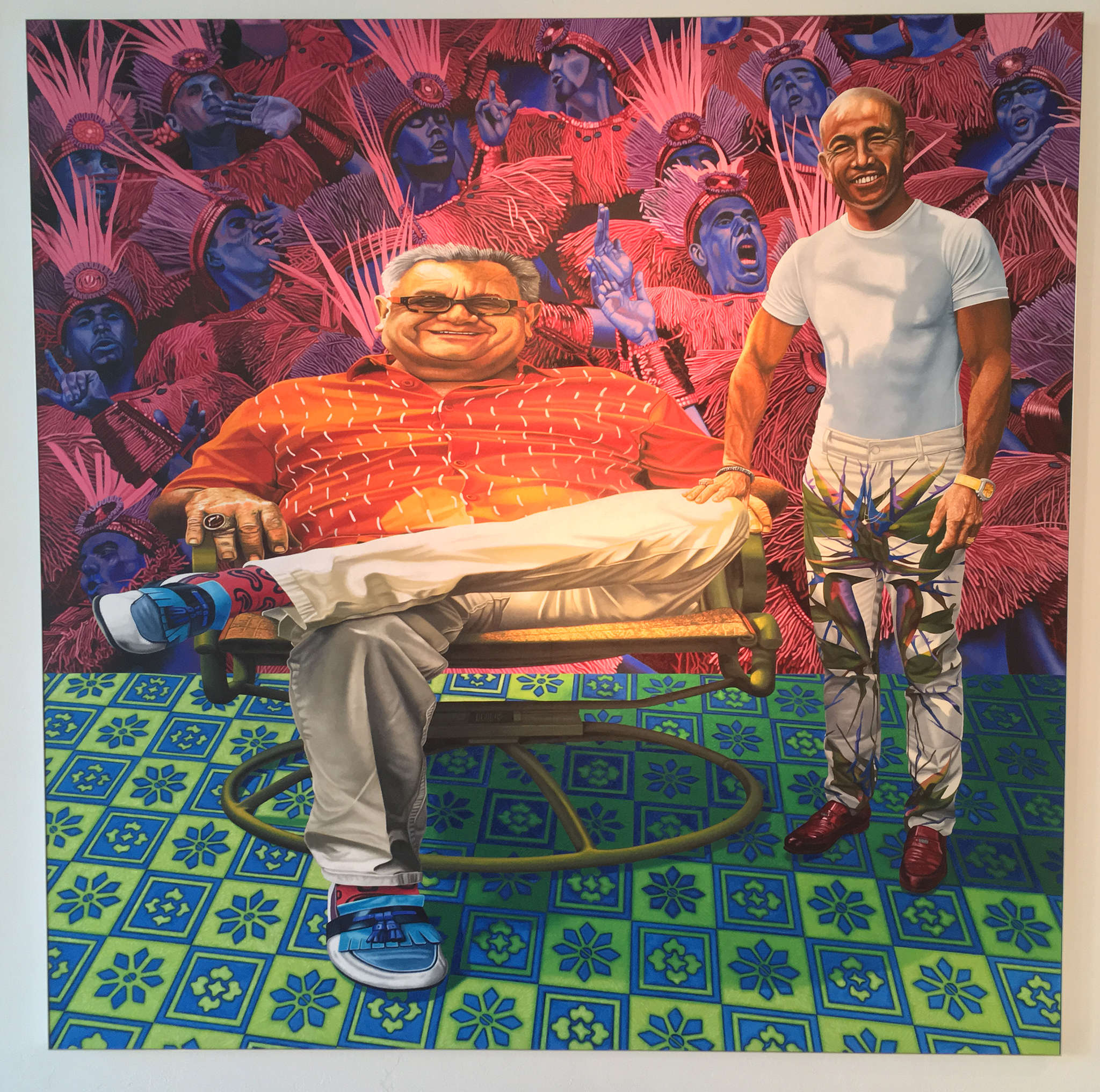 "Ira Upin´s painting ""Nola Boys"" (2014), oil on panel, at the James Oliver Gallery."
