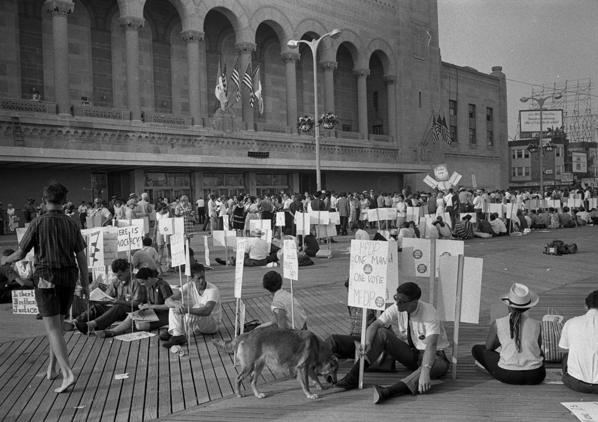 Protesters outside Atlantic City´s Boardwalk Hall, site of the 1964 Democratic convention and a dispute over the seating of black delegates.