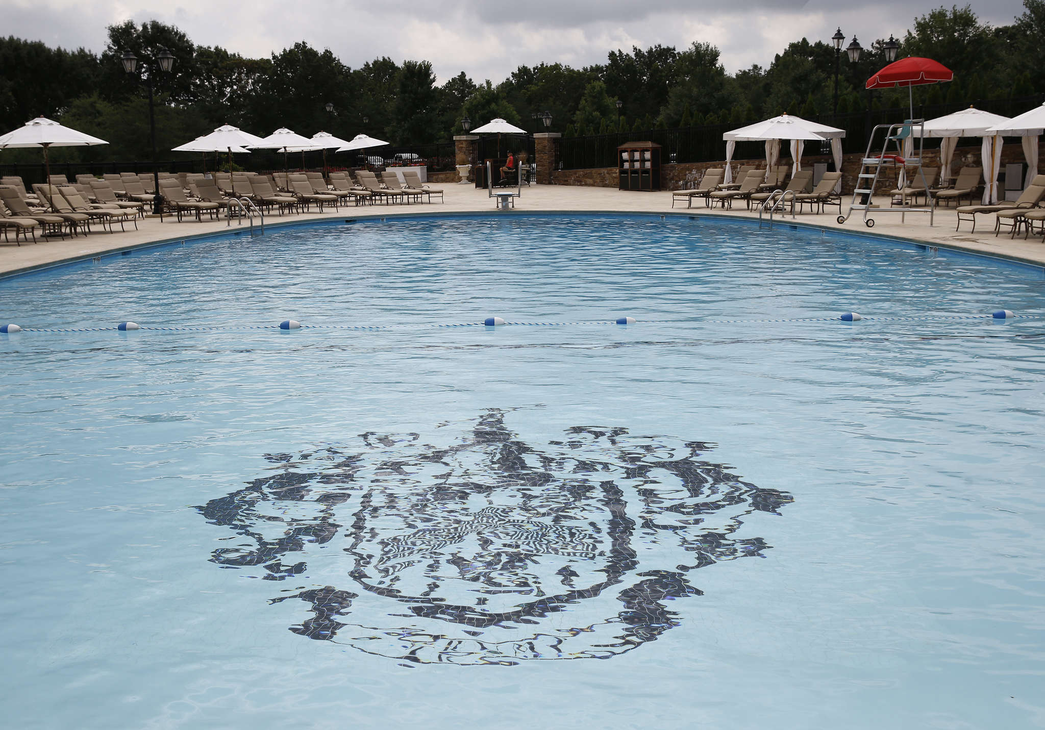 The Trump coat of arms is painted on the bottom of the swimming pool at Trump National Golf Club Philadelphia.