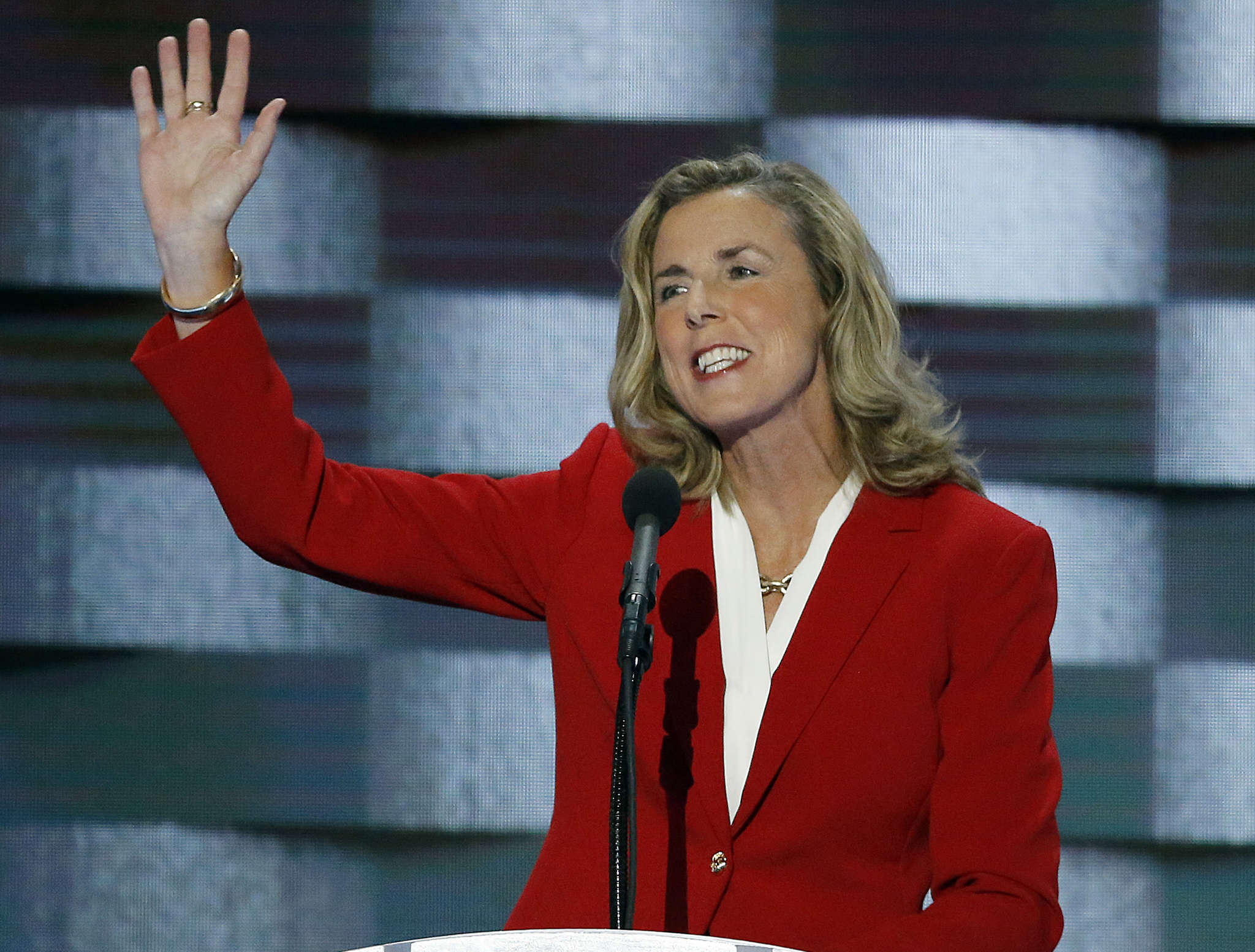 Katie McGinty showed genuine emotion in talking about family members who had cancer. MICHAEL BRYANT / Staff Photographer