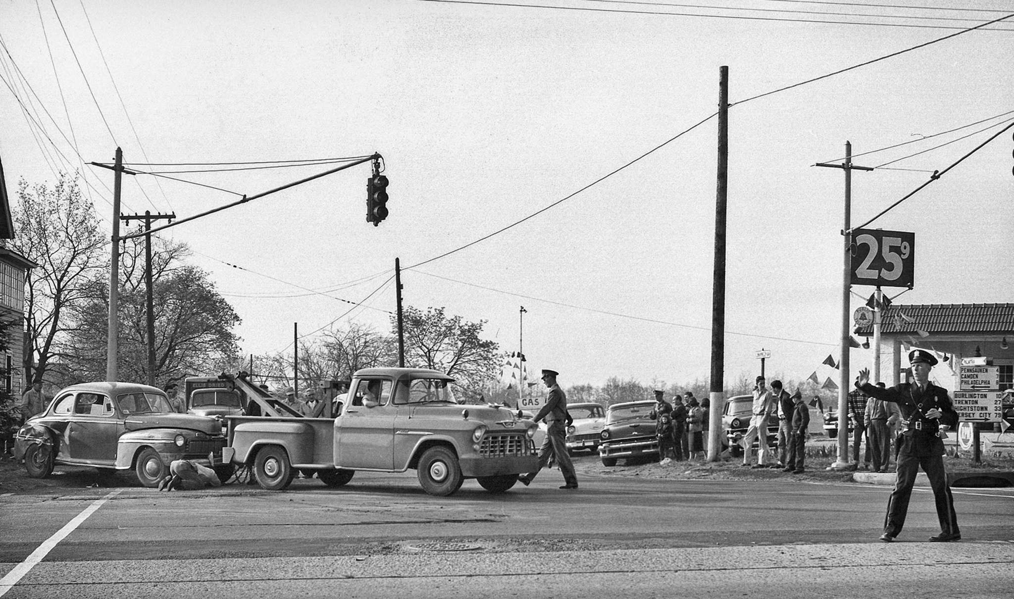 One of the vintage photos shows Cinnaminson police directing traffic at the scene of an accident on Route 130 in the mid-1950s.