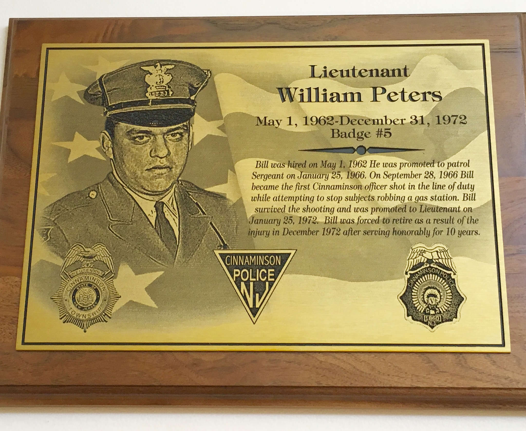 One of the plaques on display honors Lt. William Peters, who was woundedas he tried to stop a gas station robbery.