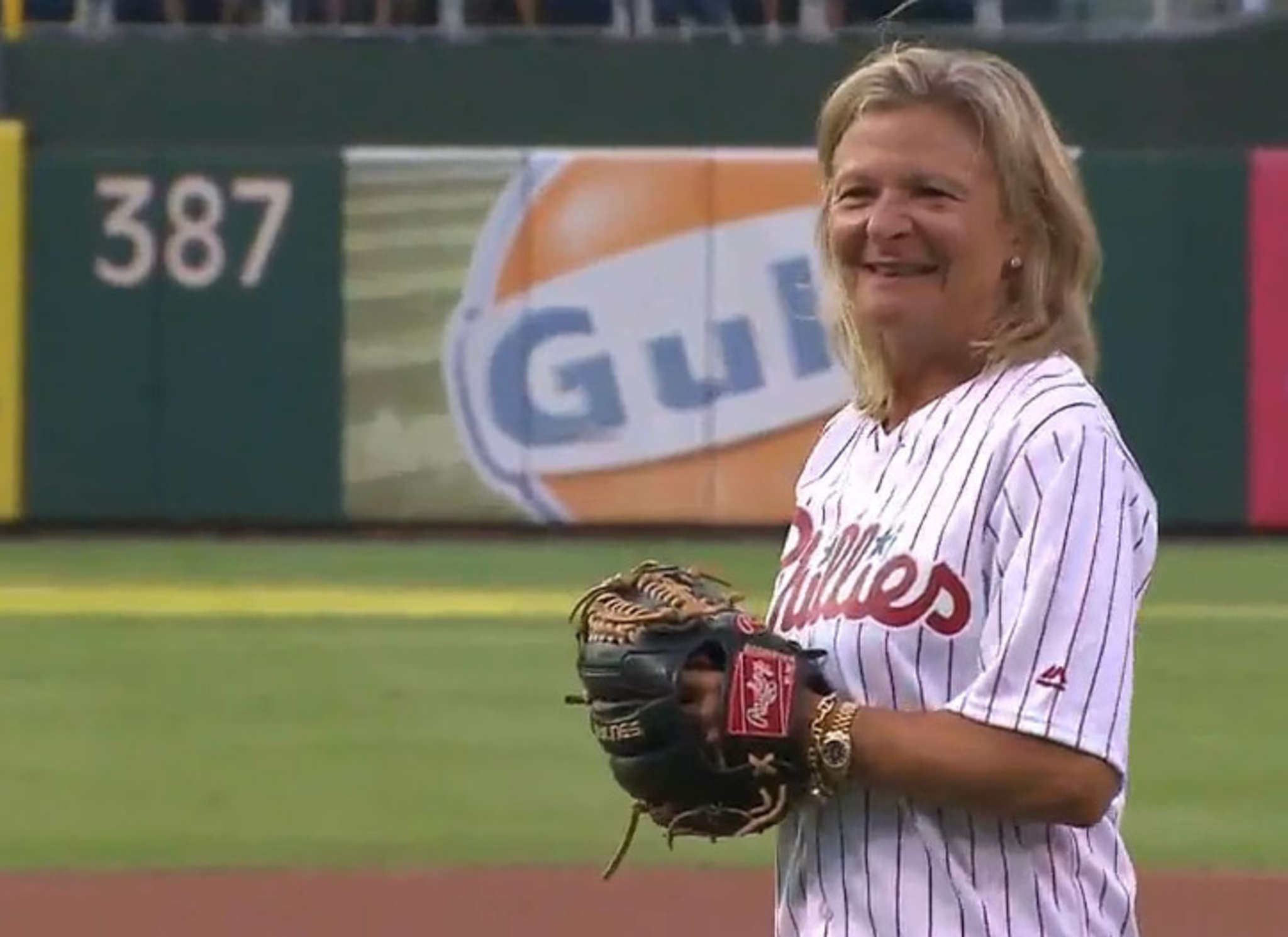 Lisa Scottoline throws out the first pitch at Ladies Night with the Philadelphia Phillies on Aug. 20.