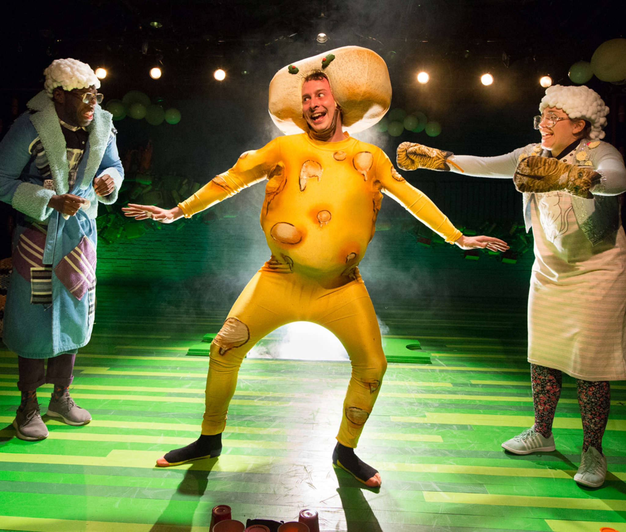 """The Stinky Cheese Man"" starred (from left) Ashton Carter, Scott Sheppard, and Rachel Camp. The Arden Theatre production drew nominations that include best direction."