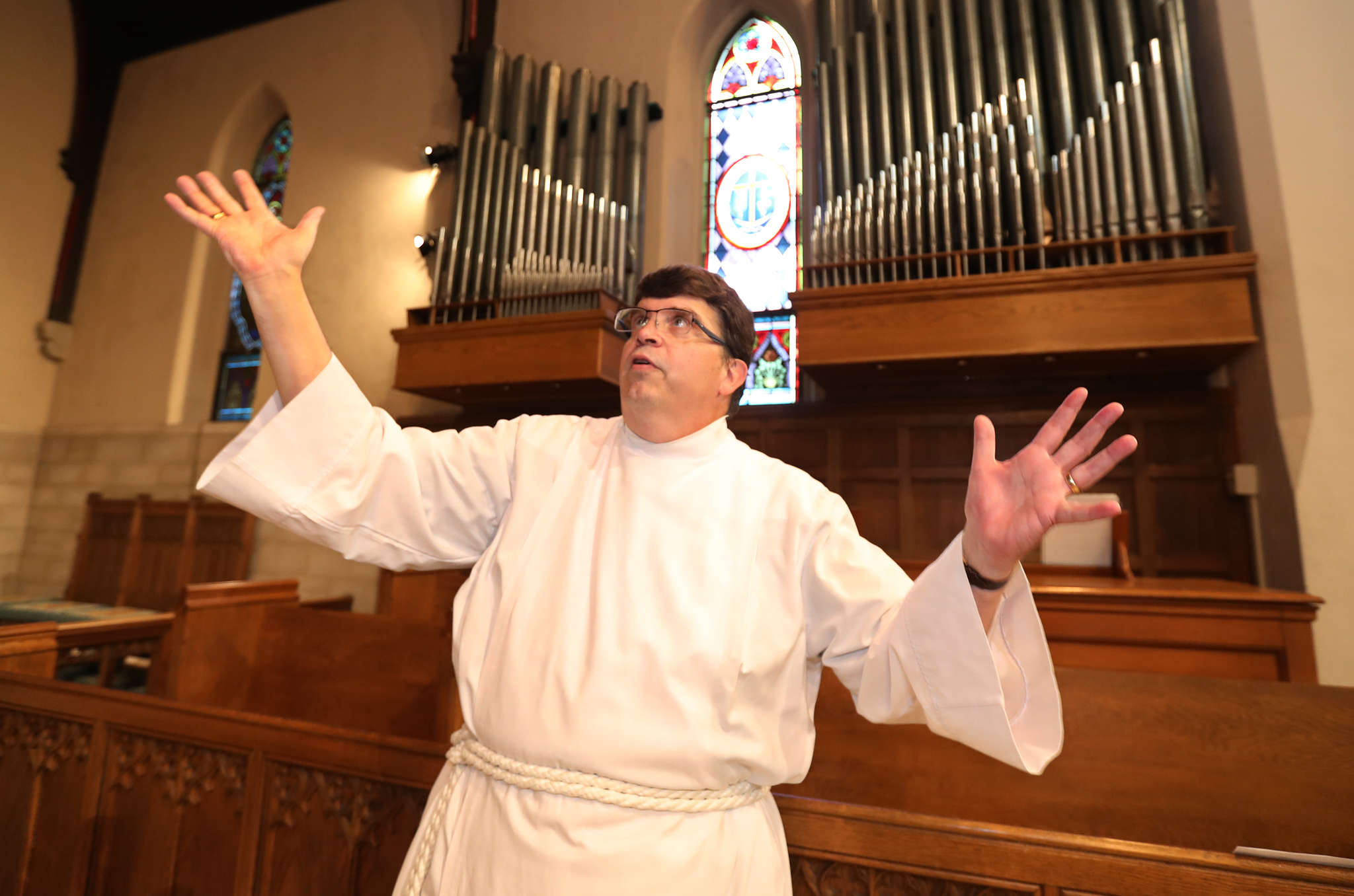 The Very Rev. Richard C. Wrede at Christ Church in Riverton, which hopes to have its organ playing again next spring.