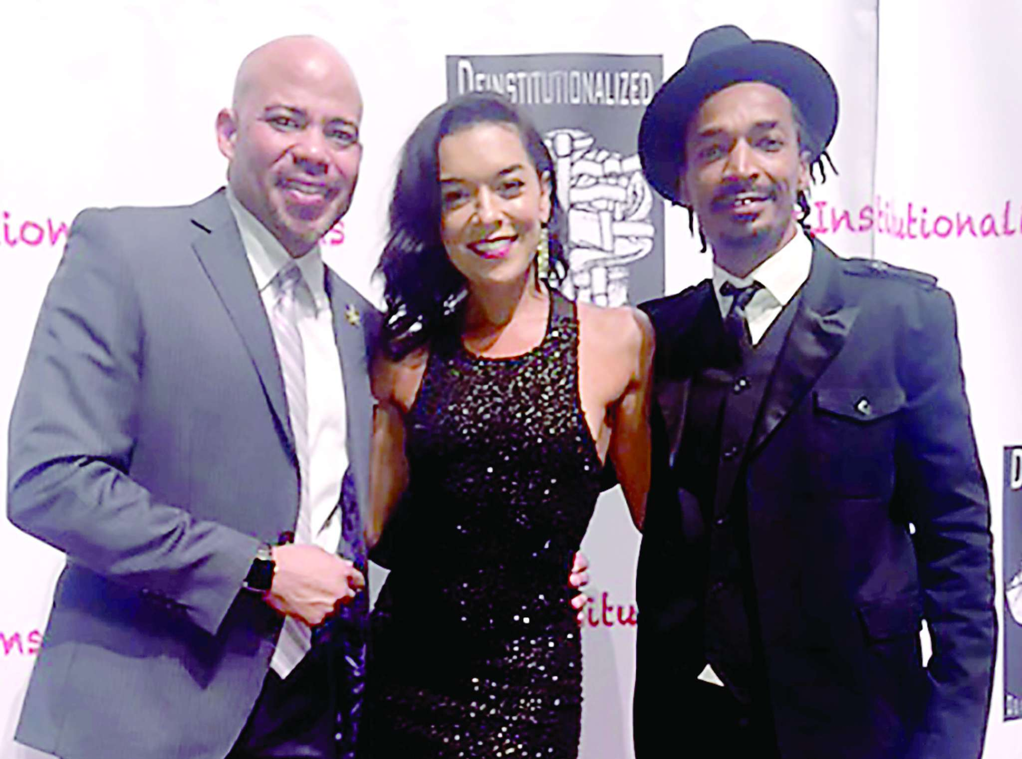 Philly native Gerald Webb (left) is the star and producer of A House Is Not a Home, which co-stars Diahnna Nicole Baxter and Eddie Steeples. The red-carpet premiere of the movie was Thursday night.