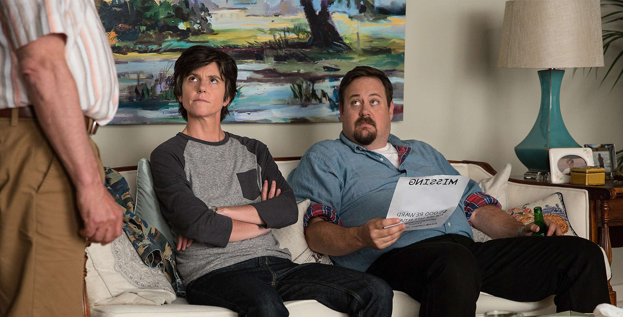 "In ""One Mississippi,"" Tig Notaro stars in a semi-autobiographical dark comedy, with Noah Harpster as her brother (right) and John Rothman as her stepfather. MICHELE K. SHORT / Amazon Studios"