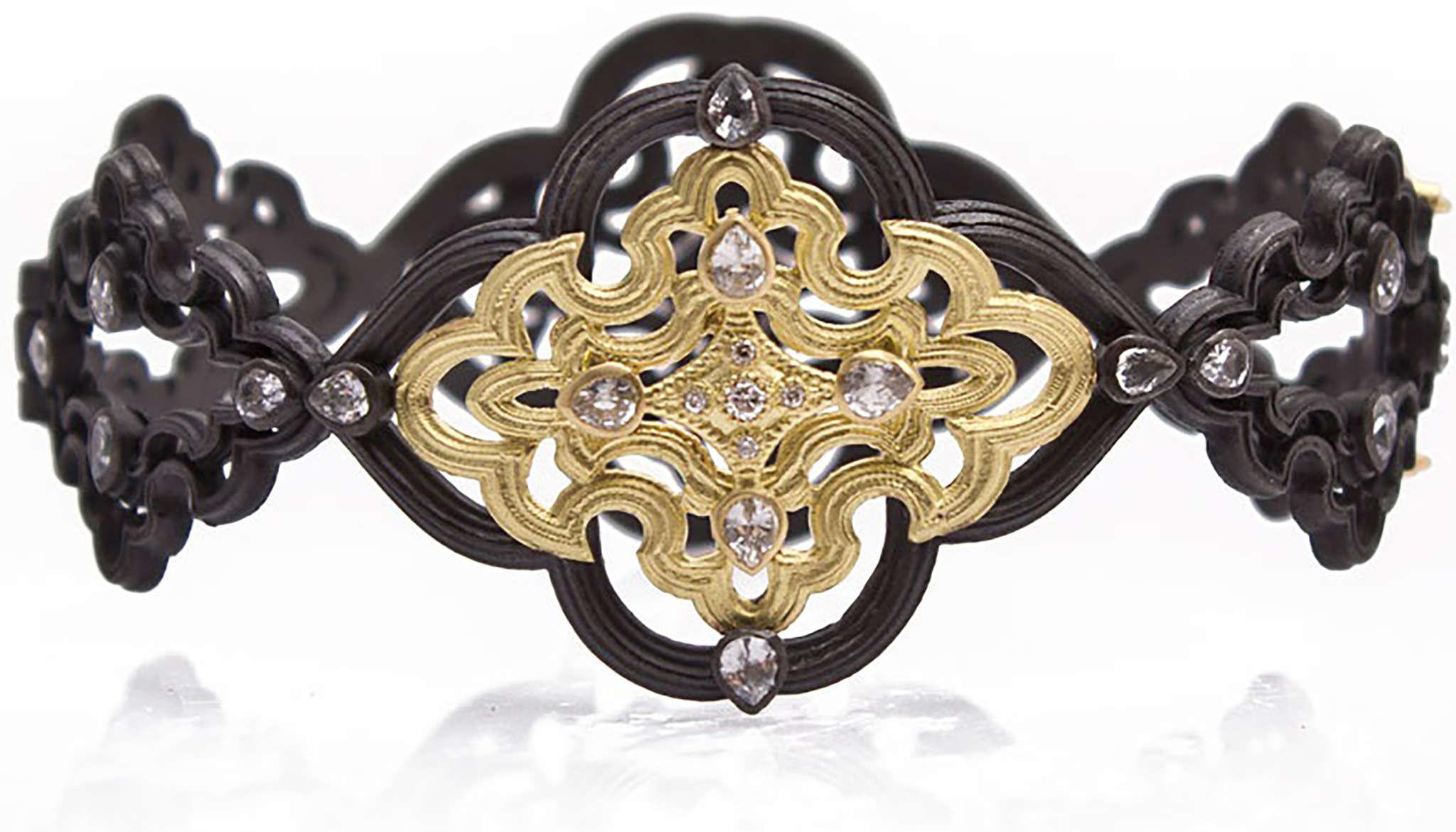 Rose gold open-bangle bracelet with diamond design, Casato, available at Bernie Robbins Jewelers in Villanova.