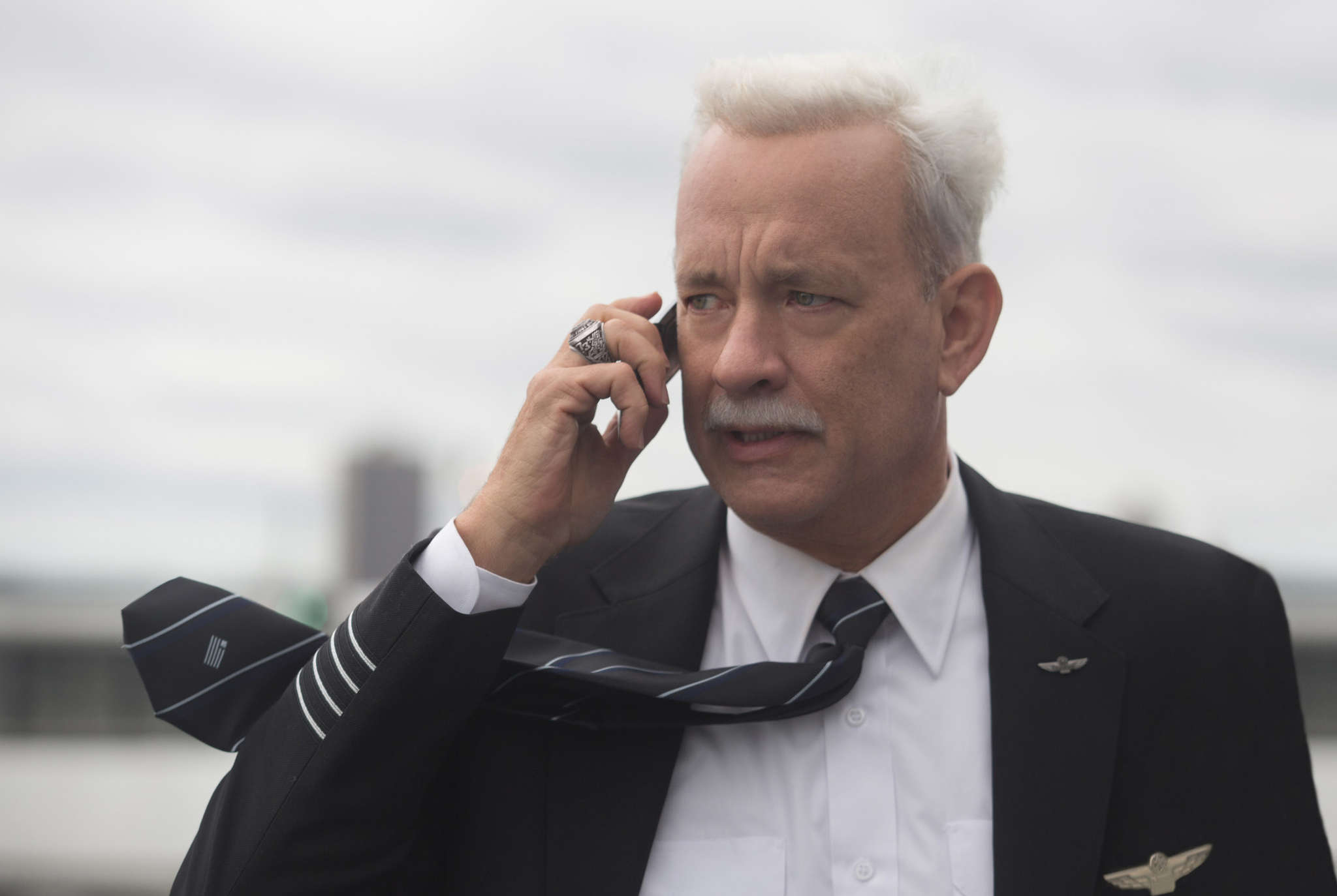 """""""Sully"""": Tom Hanks portrays Chesley """"Sully"""" Sullenberger, who piloted a disabled airplane to an emergency landing in the Hudson River."""