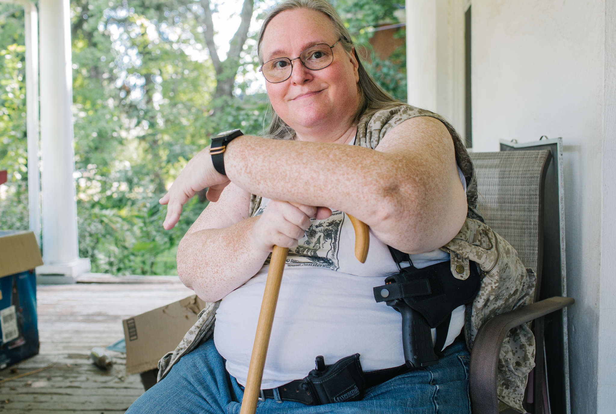 Gwen Patton , who started the Delaware Valley Pink Pistols chapter in 2001: Members are educated in how to shoot, gun advocacy and obtaining permits. MICHELLE GUSTAFSON / For the Daily News