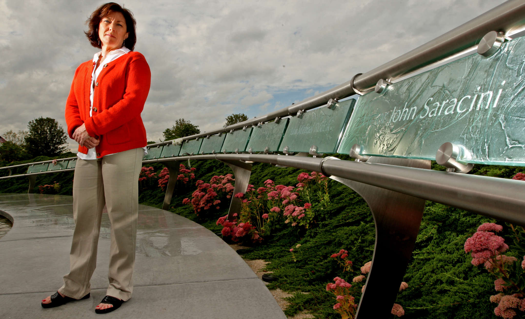 Ellen Saracini, at the Garden of Reflection Memorial, is the widow of the pilot whose plane hit the south tower.
