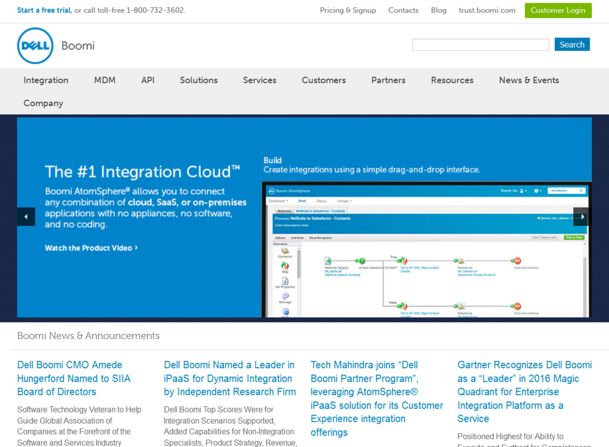 Boomi´s website highlighting the company´s cloud integration.