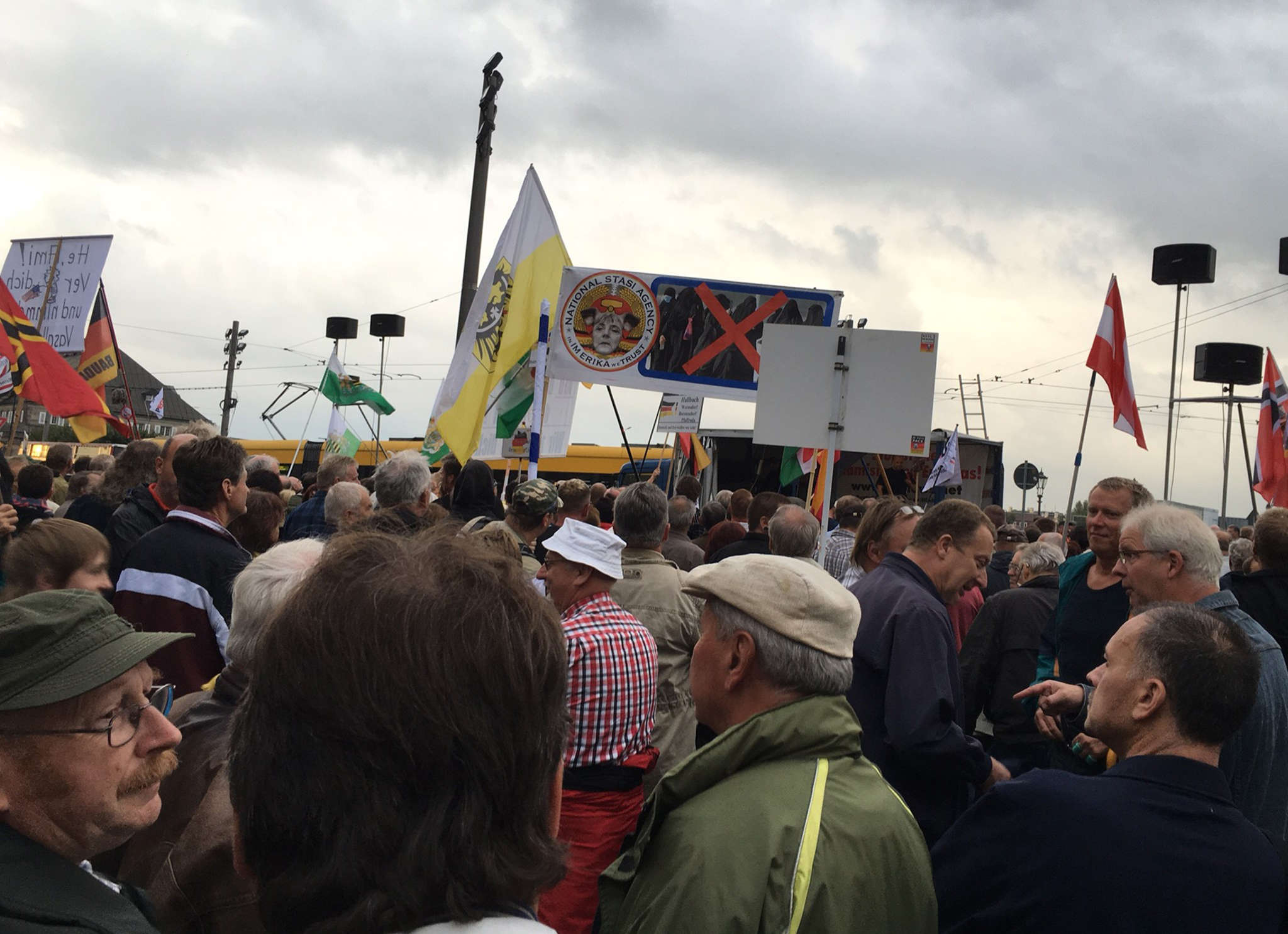 Members of the anti-immigrant group known as Patriotic Europeans Against the Islamization of the West, or Pegida, gather in Dresden to demonstrate.