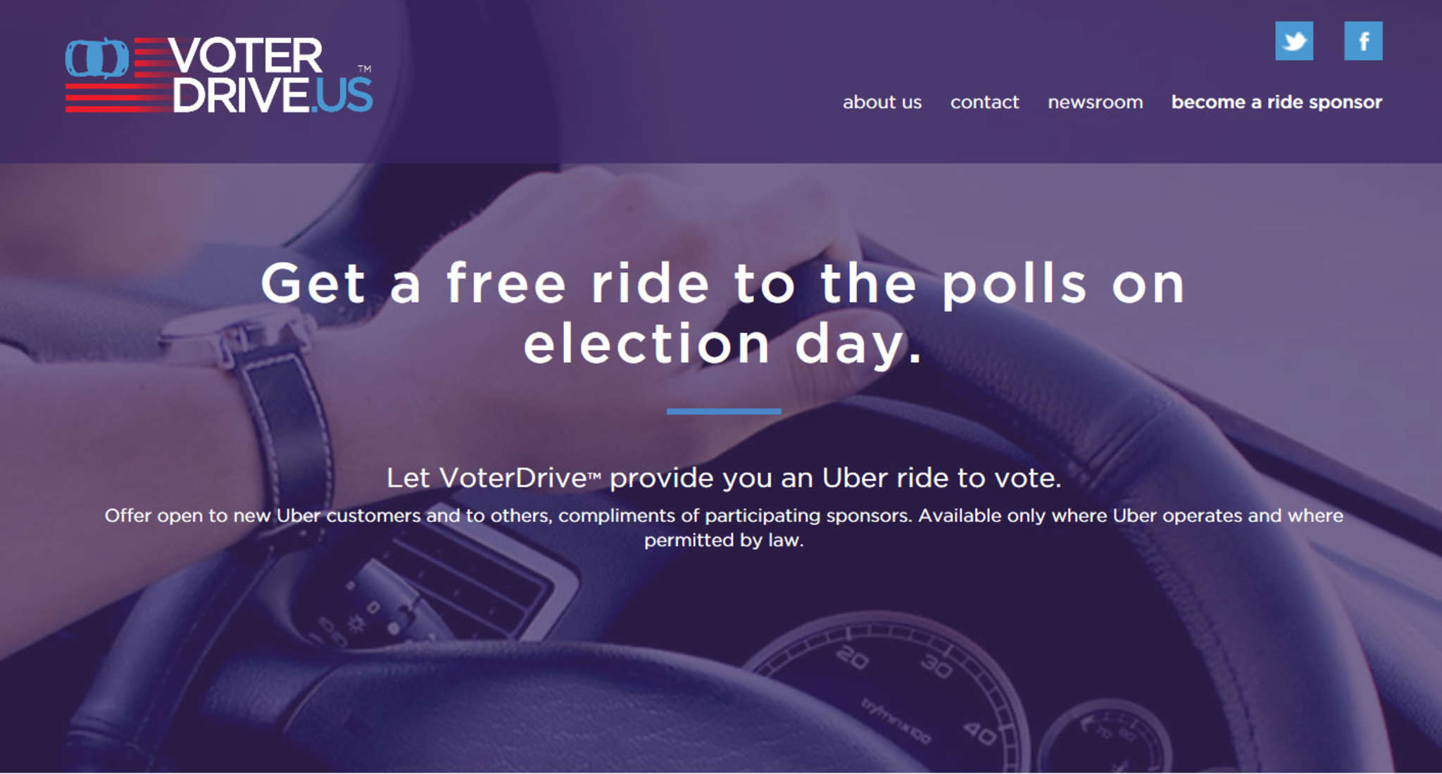 The VoterDrive.us home page, where new Uber users can sign up for a free ride to the polls. To get home, voters can use their new Uber membership to order and pay for a ride.