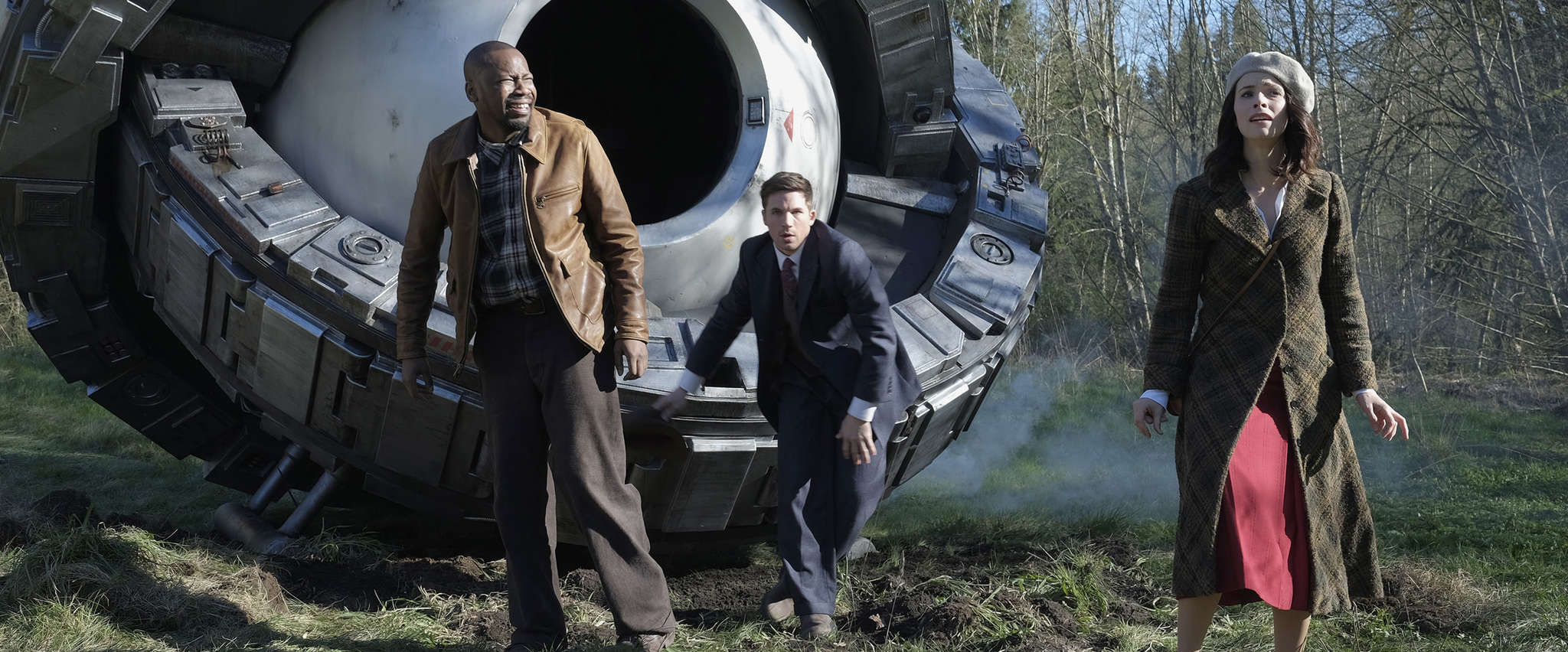 "In NBC´s new ""Timeless,"" Malcolm Barrett (left) is a scientist, Matt Lanter a soldier, and Abigail Spencer a history professor sent back in time to thwart an anti-America villain."