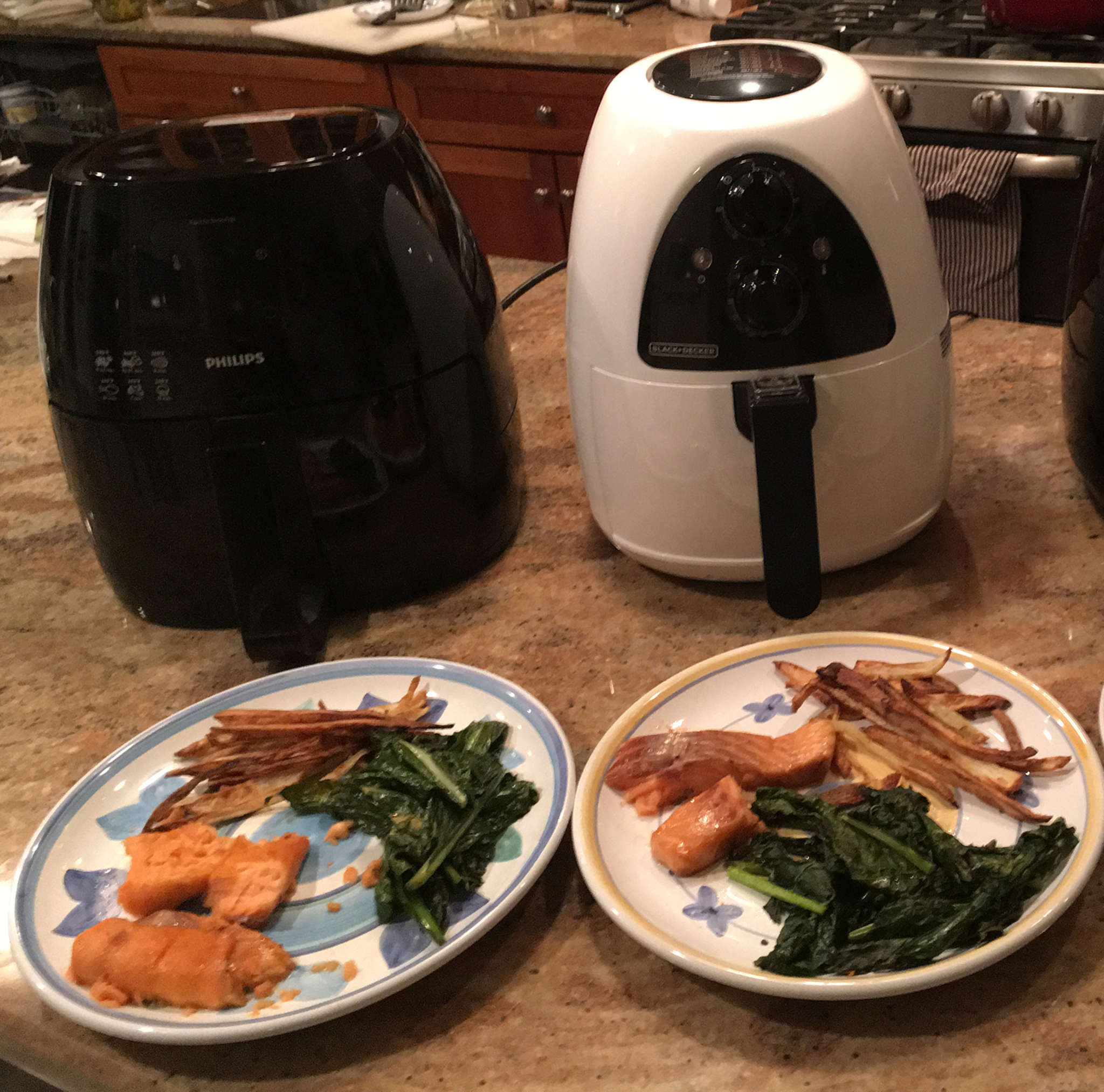 Air Fryers like the Philips Avance (left) and the Black and Decker Purifry both circulate hot air to fully fry food, though in larger portions in the Philips.