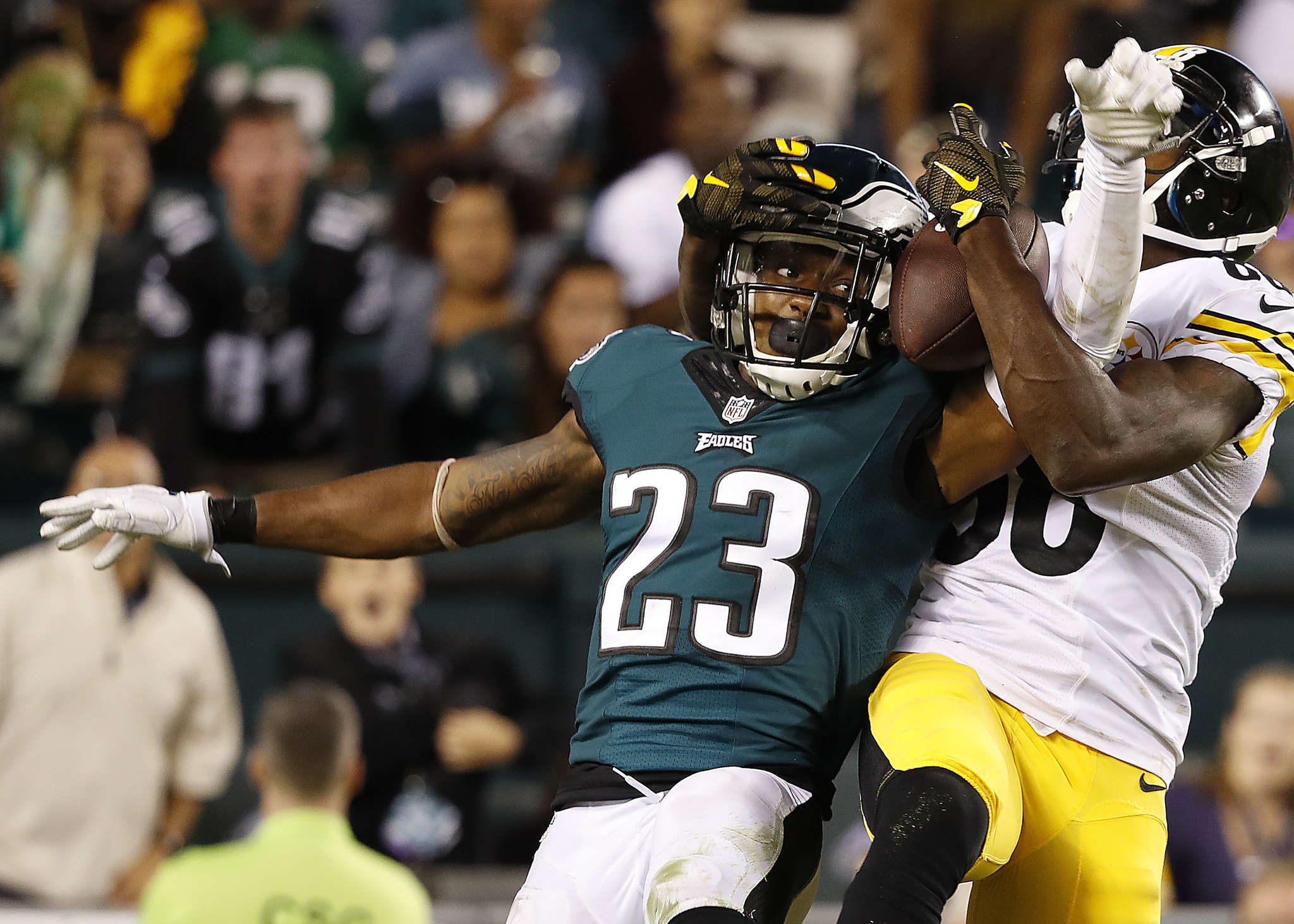 Rodney McLeod intercepts pass for Darrius Heyward-Bay in end zone in fourth quarter.