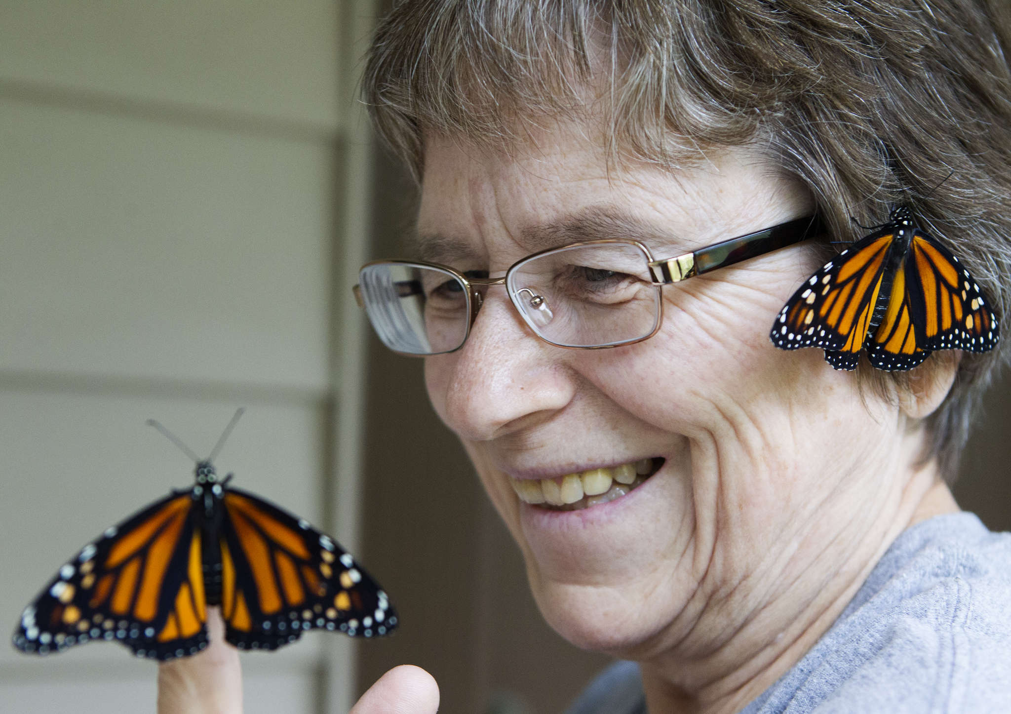 Suzan Preiksat, a retired computer programmer , with a couple of the monarch butterflies she raised. CHARLES FOX / Staff Photographer