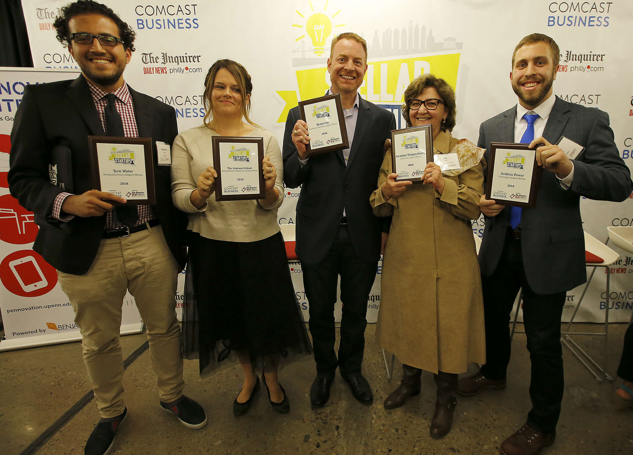 Among the Stellar StartUps (from left) were Mohamed Zerban of Tern Water, Melissa Bilash of the Grayson School, Andrew Chambers of Renterval, Elly Engel of Arcadian Telepsychiatry, and Jason Halpern of Gridless Power. A sixth honoree was ThirdEye Technologies. YONG KIM / Staff Photographer