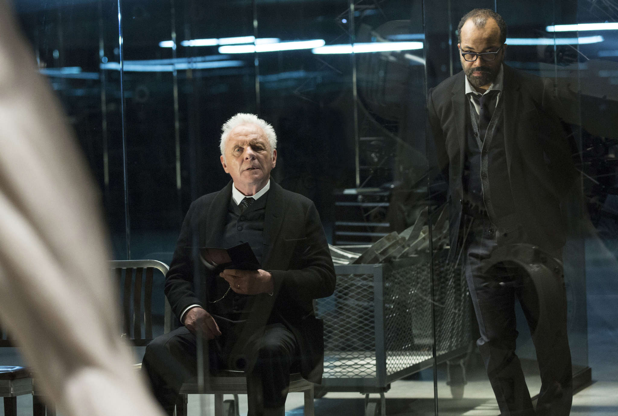 "Anthony Hopkins (left) is the park´s founder, Jeffrey Wright its head of programming. In the show, like AMC´s ""The Walking Dead,"" people obliterate those not considered human."