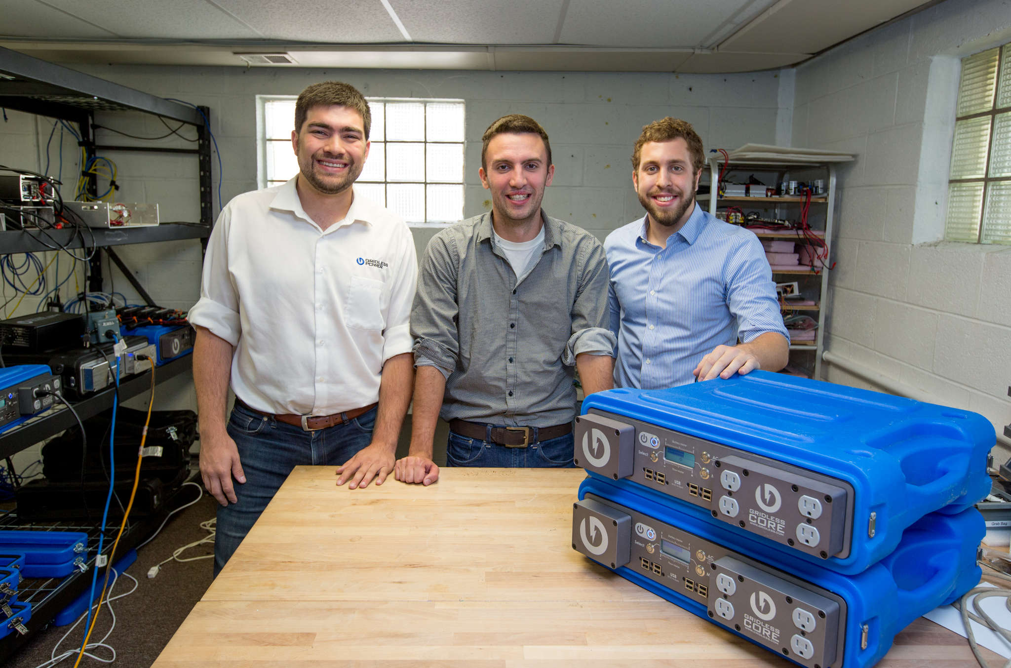 Friends since elementary school (from left) Andrew Leonard, Jason Halpern, and Patrick Murphy, all 29, formed Gridless Power, which makes portable battery packs, four years ago. They say the Stellar StartUps honor could not come at a better time for the growing Collingswood company to get the word out.