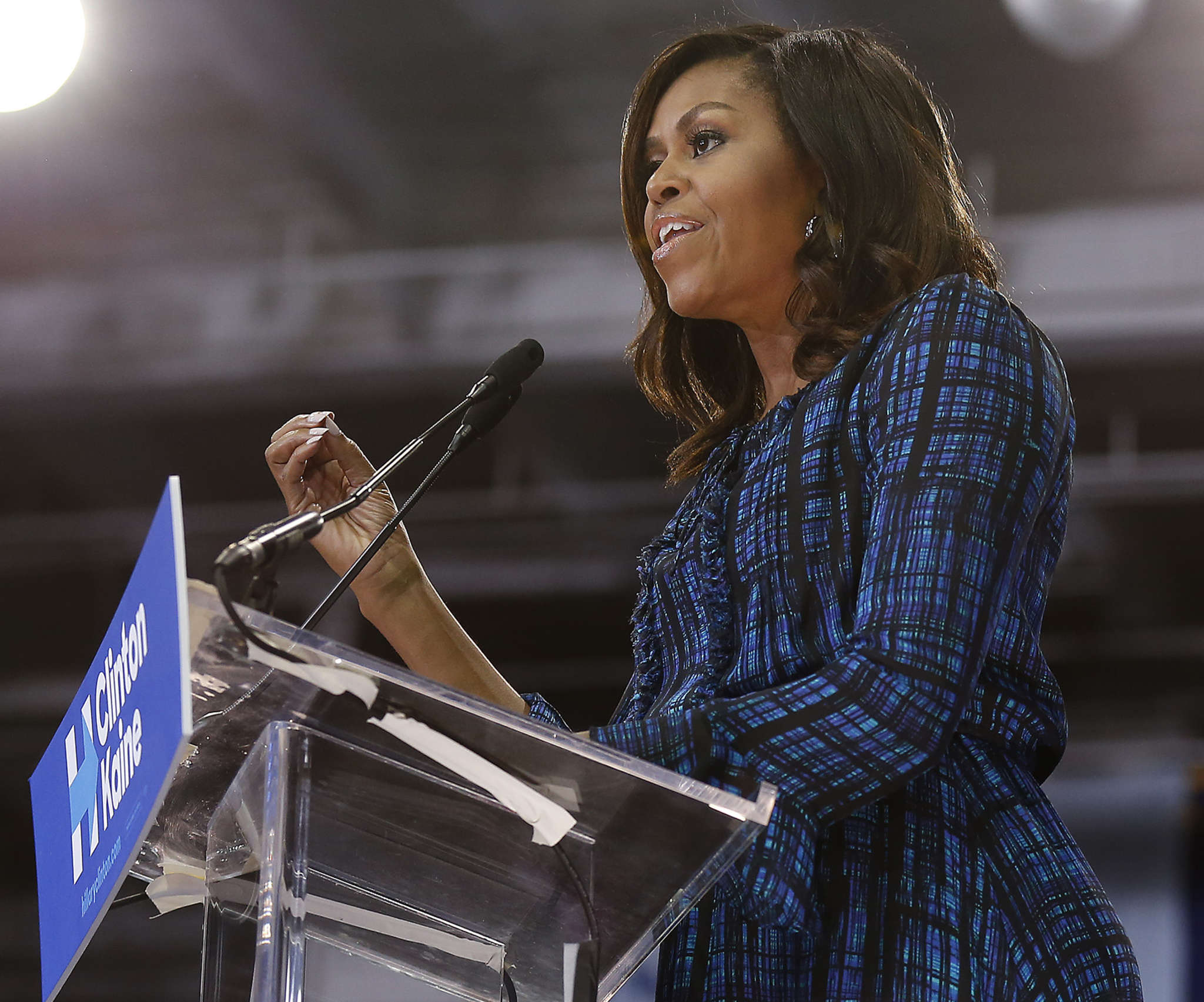 Michelle Obama, at La Salle last week, appealed to millennial voters, who make up 26 percent of Pa. voters.
