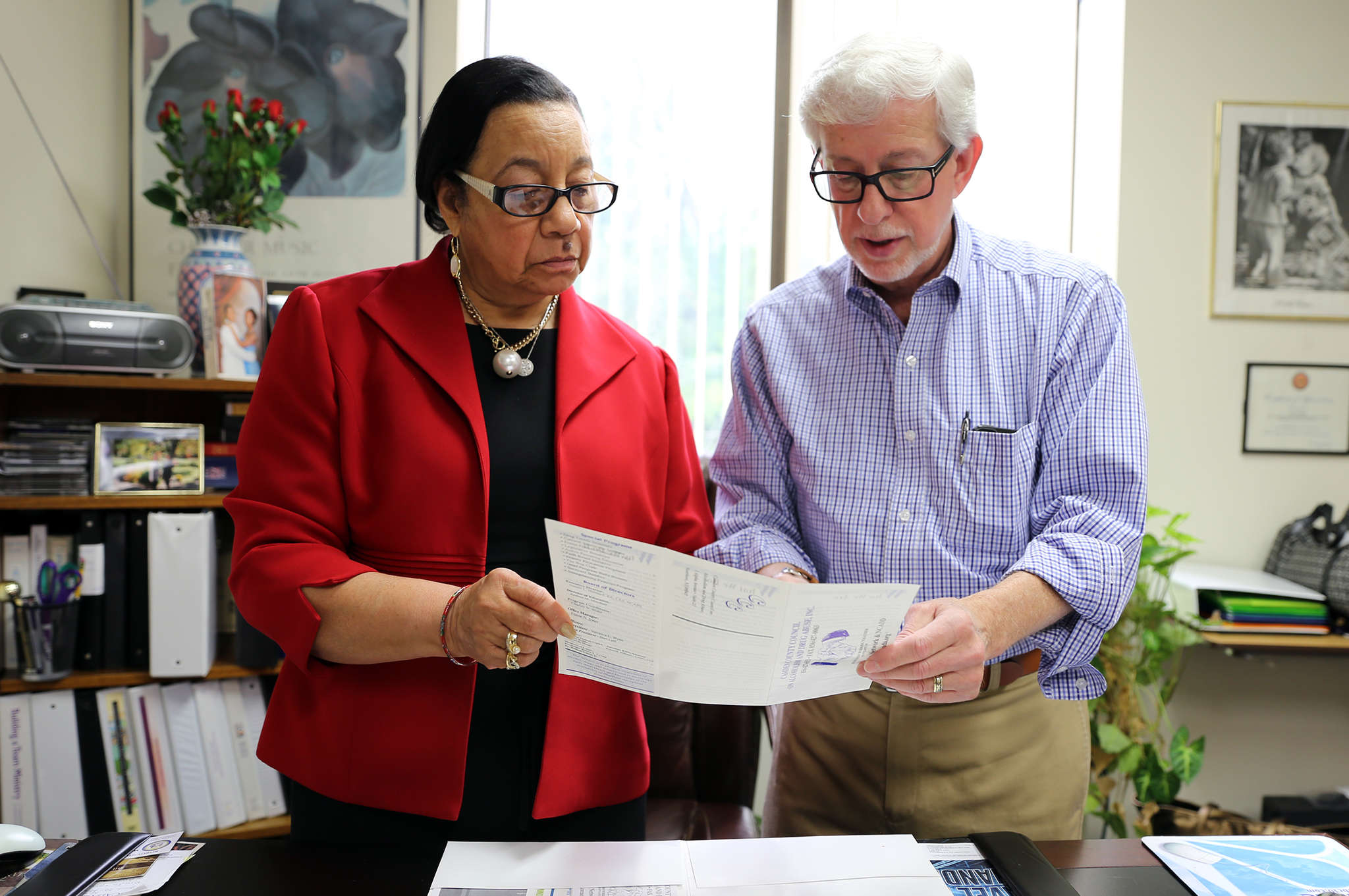 Camden County Council on Alcoholism and Drug Abuse Inc. founding executive director Naomi L. Hubbard and board president Bart Leff.
