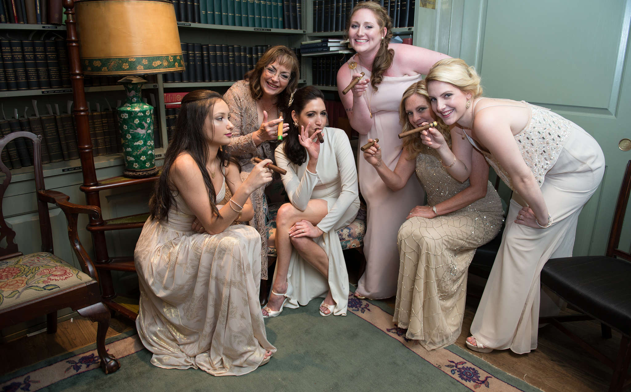 Bride Erin Oldfield (third from left), with Madison McGettigan, Joy Oldfield, Andrea Oldfield, Tina McGettigan, and Katelyn McGettigan.