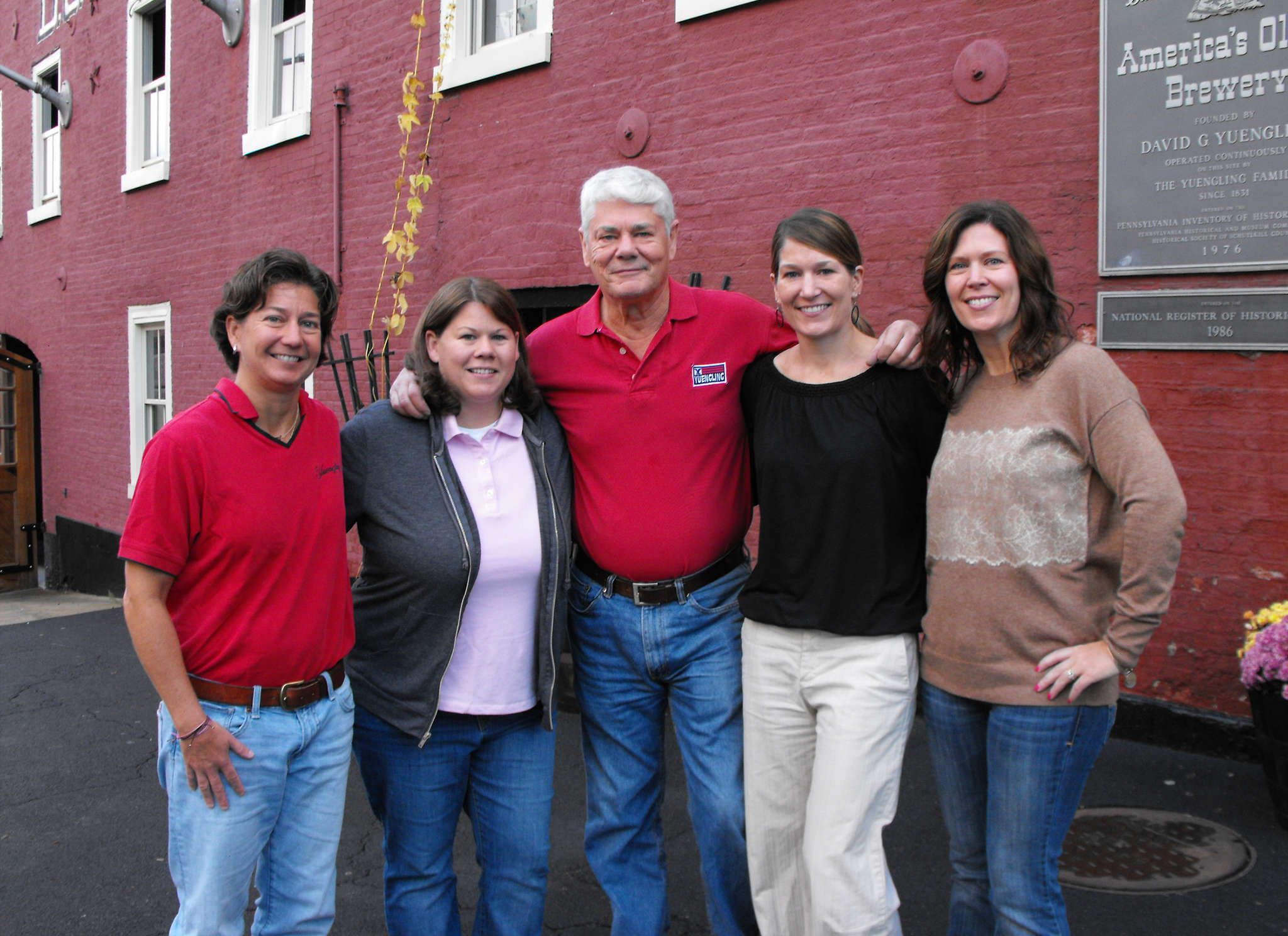 """Richard """"Dick"""" Yuengling, fifth-generation owner-operator, with daughters (from left) Jennifer, Sheryl, Wendy, and Debbie. Now, he envisions roles for a seventh generation of Yuenglings."""