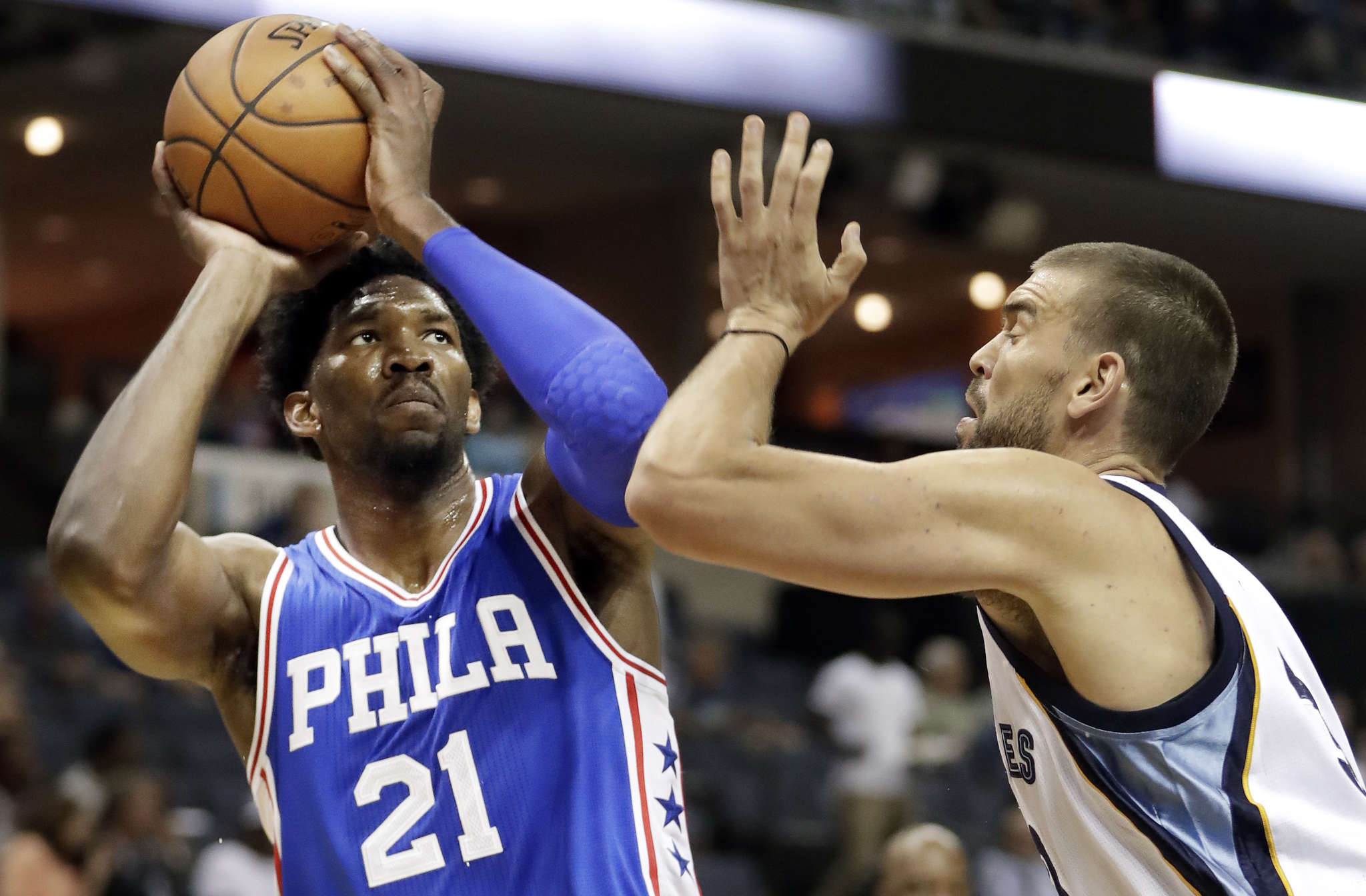 Joel Embiid has caught on more quickly than coach Brett Brown thought. ASSOCIATED PRESS