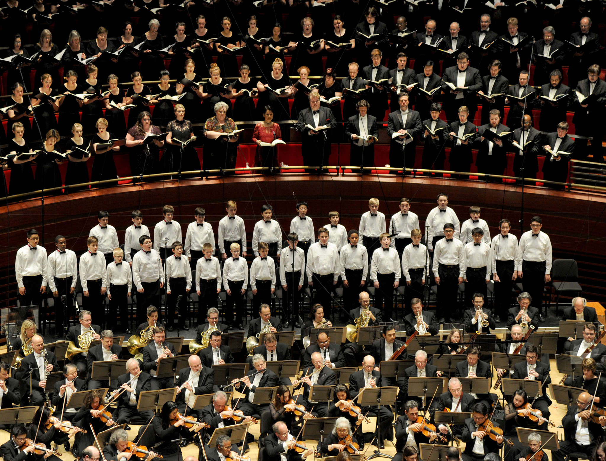 "As big as it gets. The Philadelphia Orchestra is forming its own choir in order to continue its history of performing choral works such as the gargantuan Mahler ""Symphony No. 8,"" seen here in a March 2016 performance with multiple choirs in Verizon Hall."