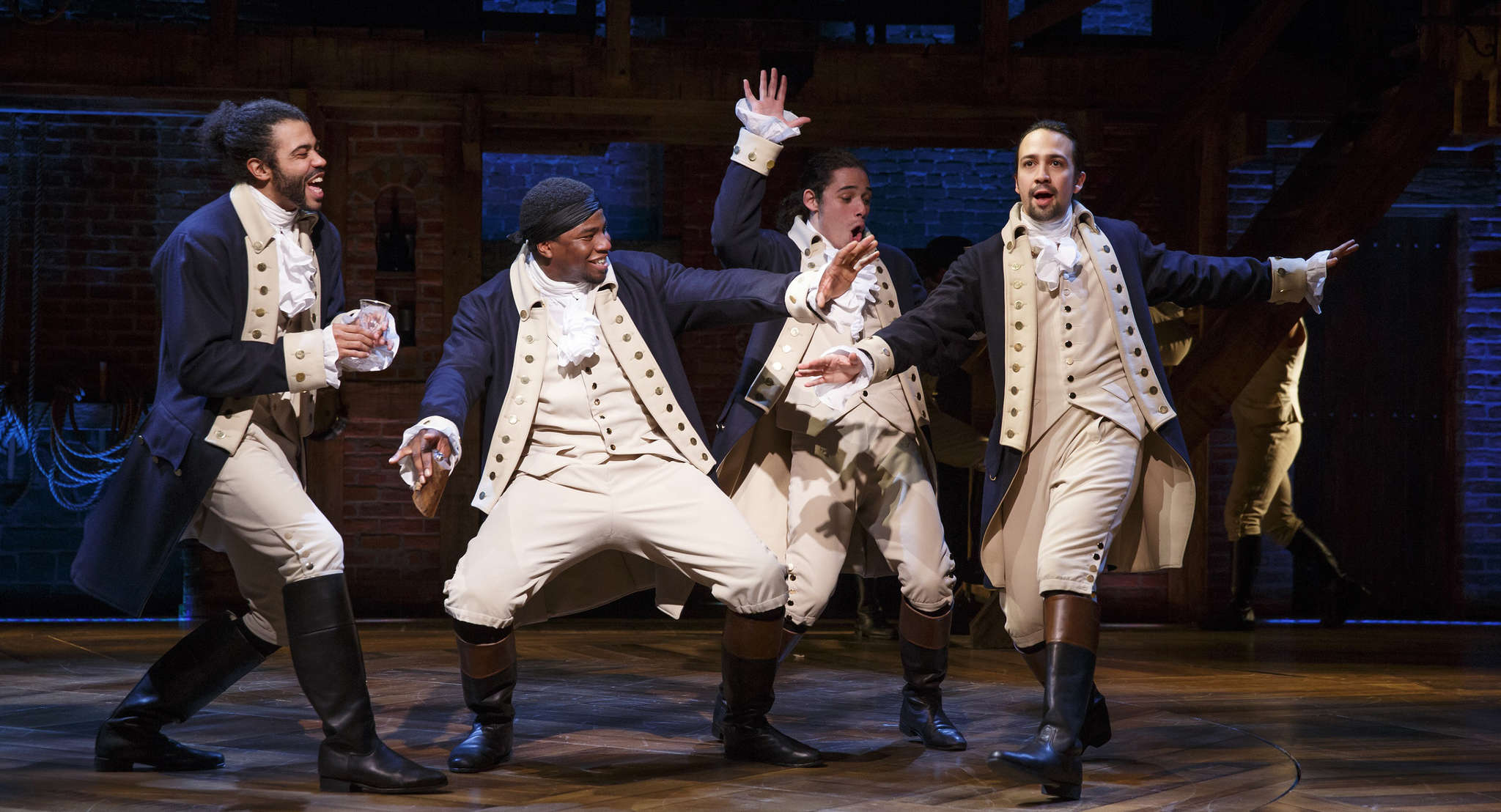 "Daveed Diggs (from left), Okieriete Onaodowan, Anthony Ramos, and Lin-Manuel Miranda in a scene from ""Hamilton´s America,"" airing Friday on PBS. The 90-minute documentary examines the making of the Broadway hit."