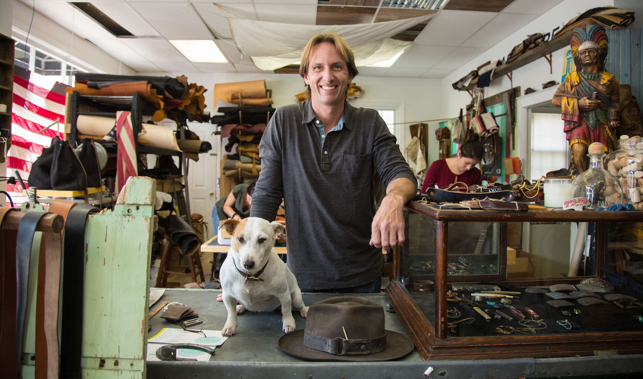 Mike Balitsaris has long had passions for working with leather and for putting old things to new uses. His company, Waltzing Matilda, combines the two.