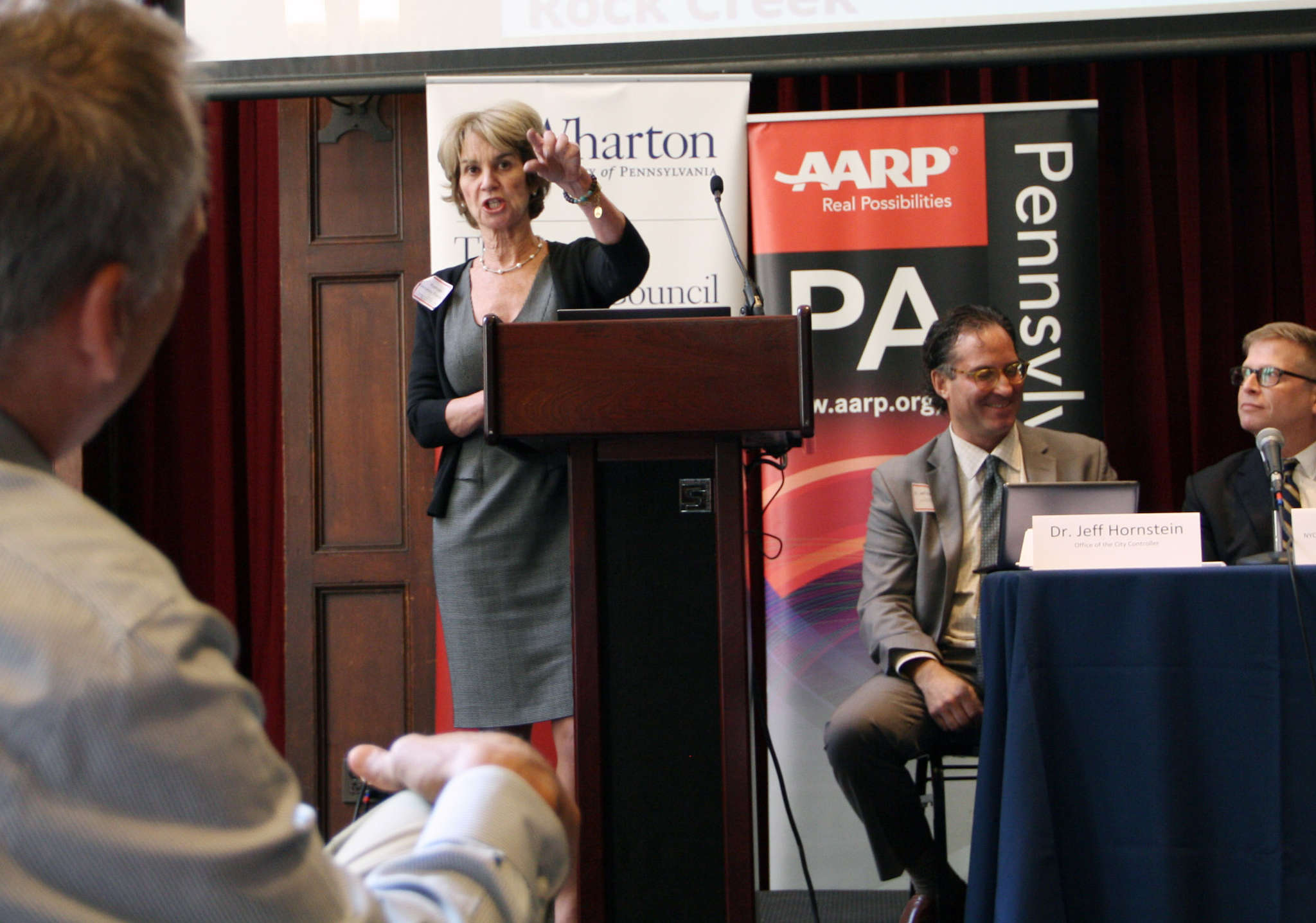 Kathleen Kennedy Townsend, a former lieutenant governor of Maryland, now an investment professional, says her state has set up its own worker-funded automatic payroll deduction savings program. Townsend spoke Wednesday at a Penn symposium on pension planning.