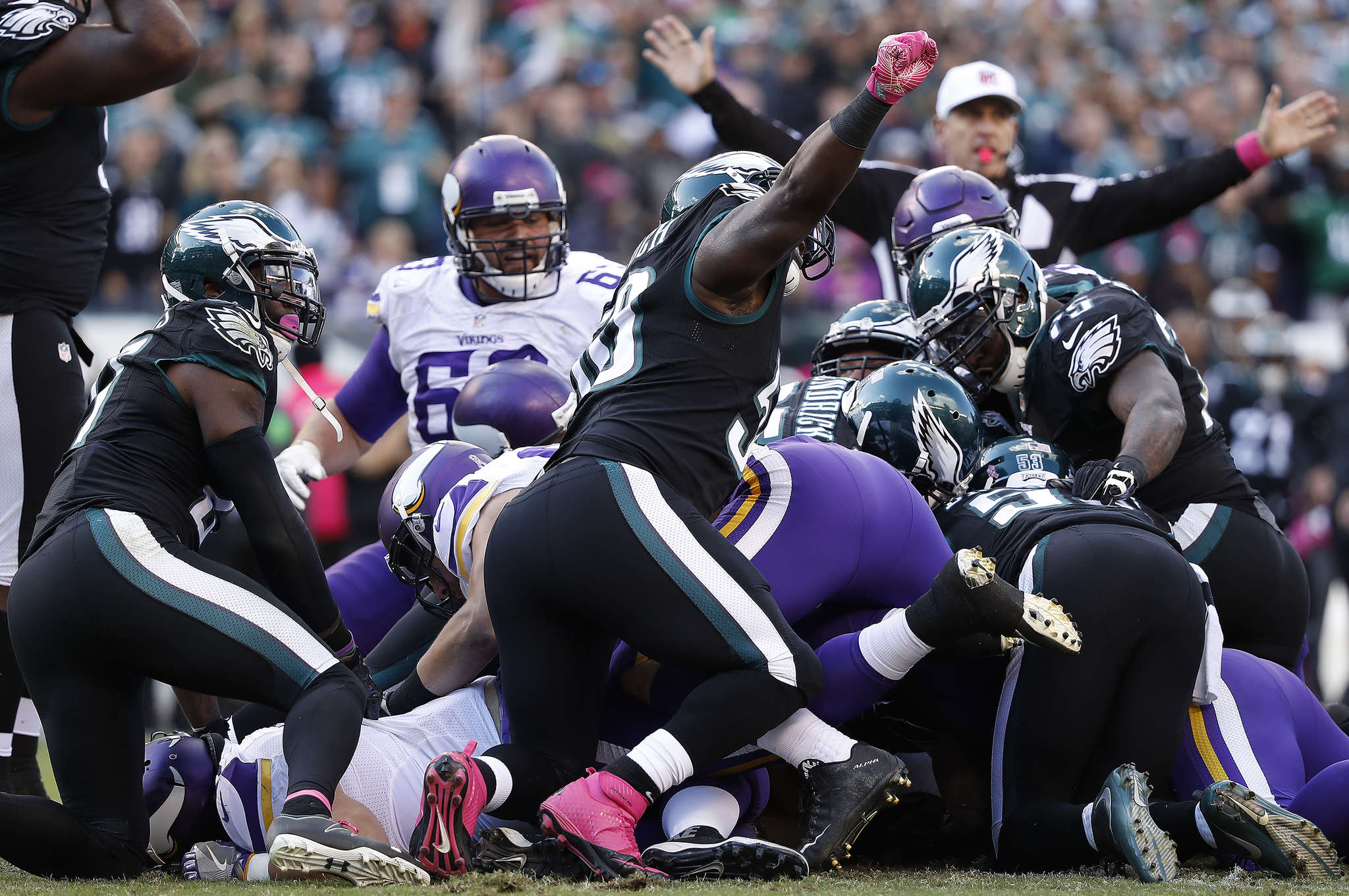 The Eagles stop the Vikings on fourth down at the 6 early in the fourth quarter. DAVID MAIALETTI / Staff Photographer