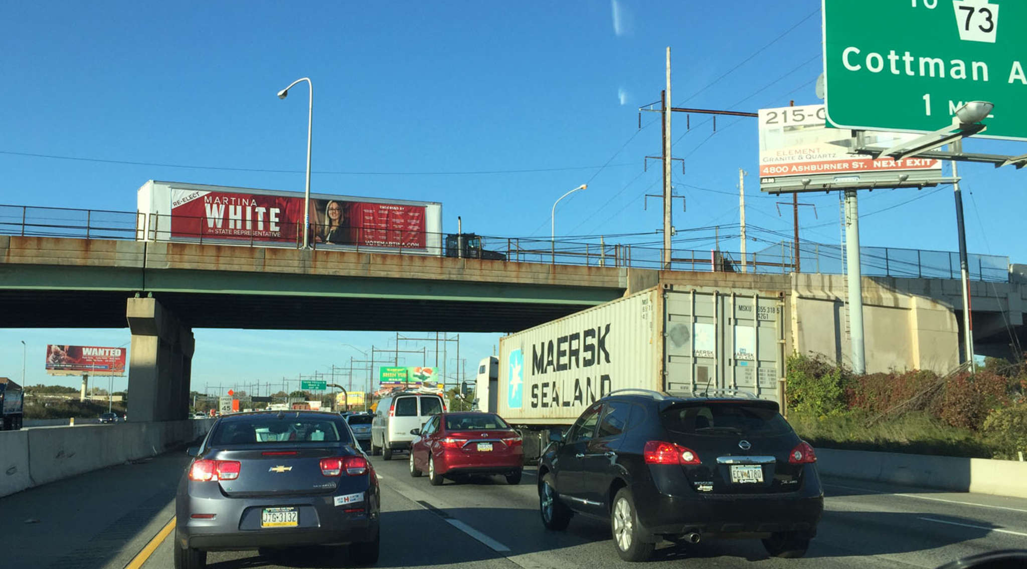 A Clout tipster sent in this photo of a tractor-trailer carrying a sign for State Rep. Martina White parked on the Ashburner Street overpass in Holmesburg.
