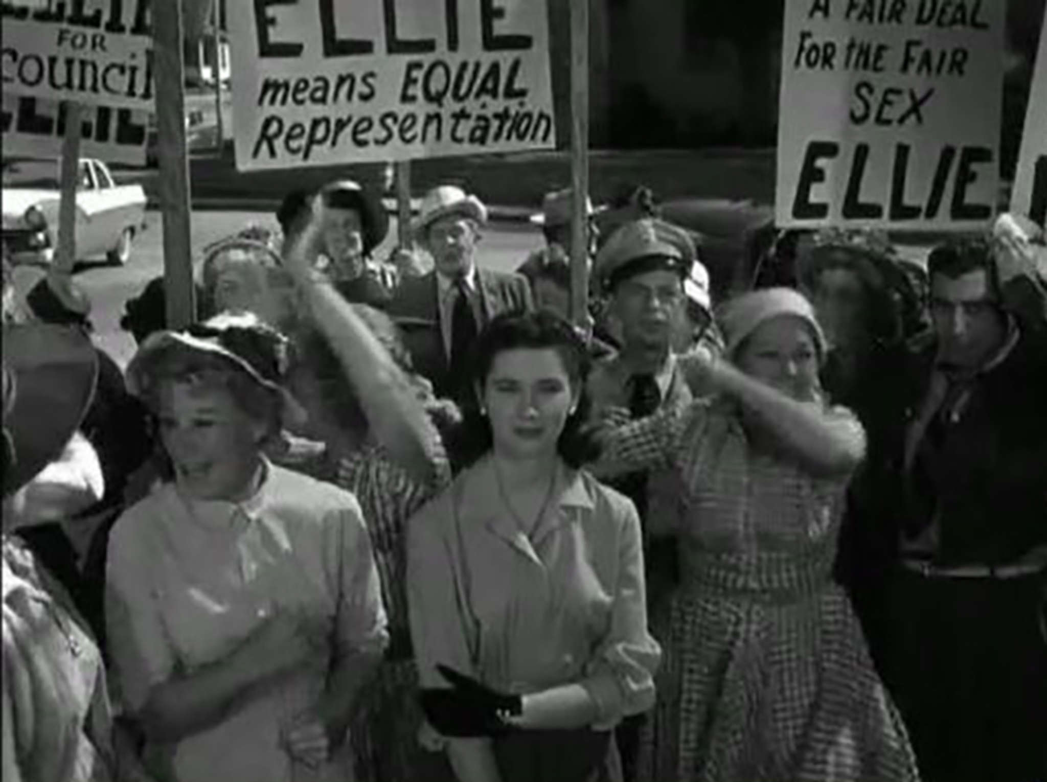 "Even on the family-friendly ""Andy Griffith Show,"" a battle of the sexes broke out in an episode from 1960 in which the sheriff´s girlfriend Ellie (Elinor Donahue) became the first woman to run for Town Council."