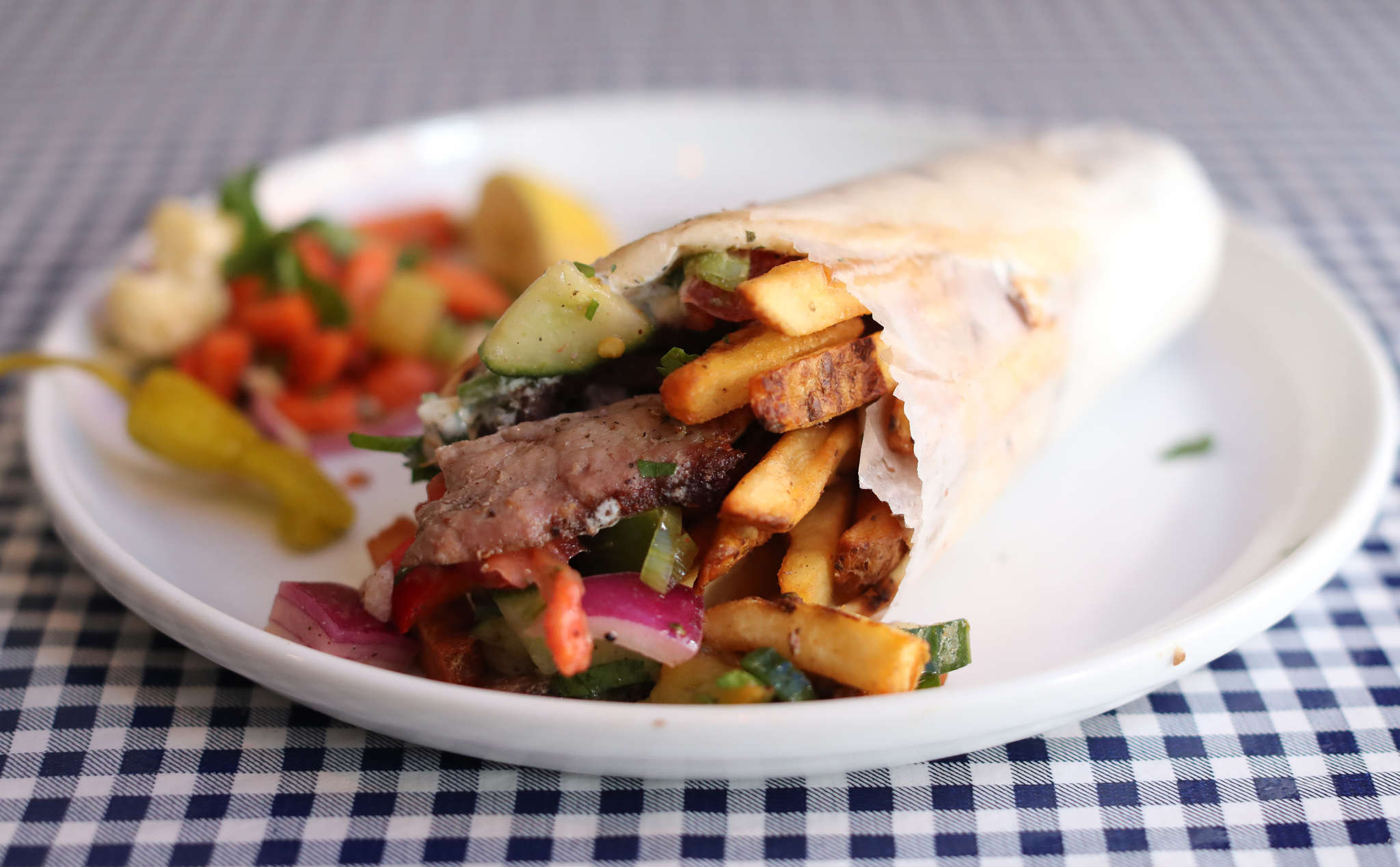The gyro at Kanella Grill incorporates layers of flavor.
