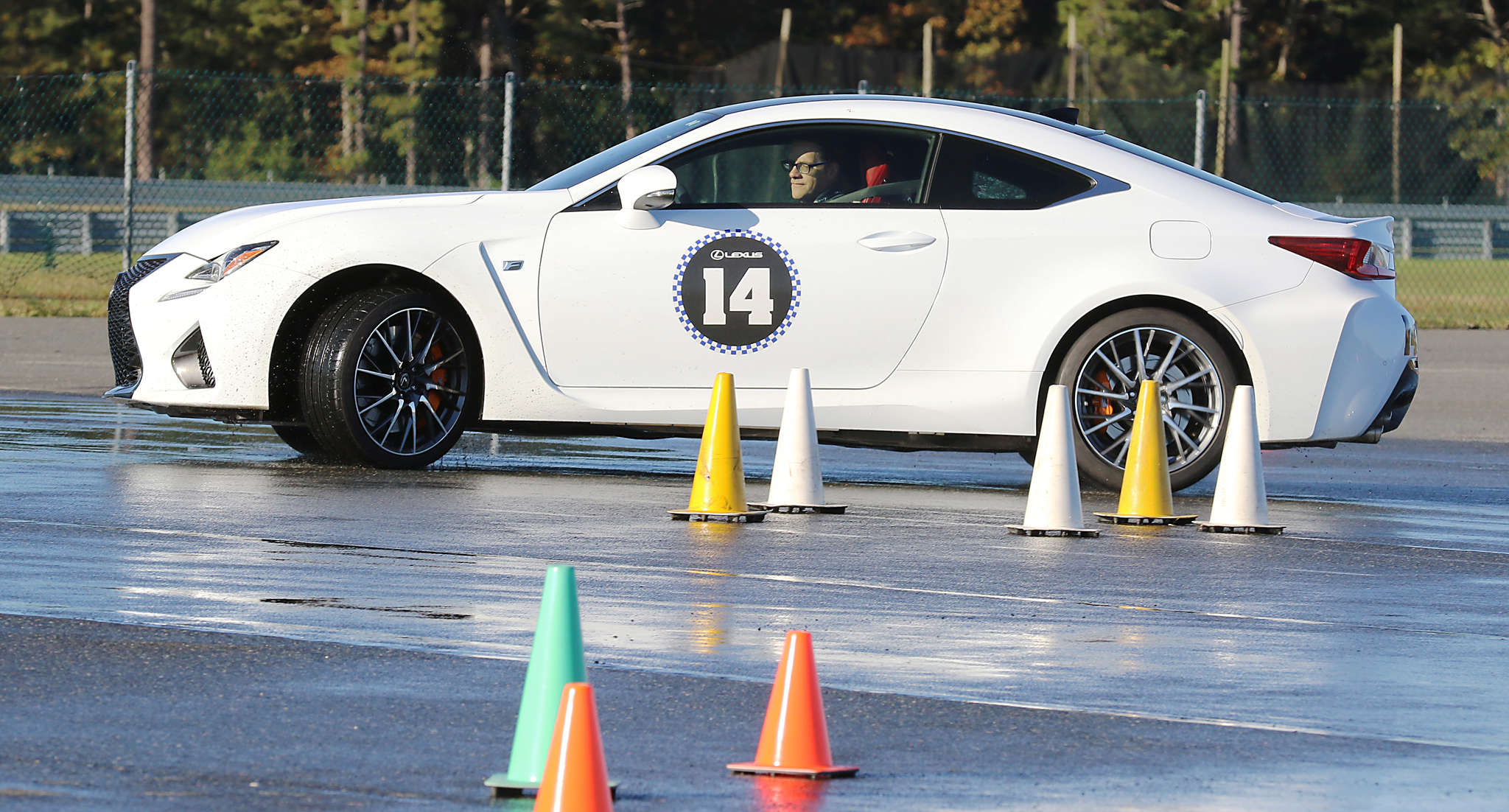 Scott Sturgis behind the wheel at New Jersey Motorsports Park in Millville. First, for the students, there was classroom time.