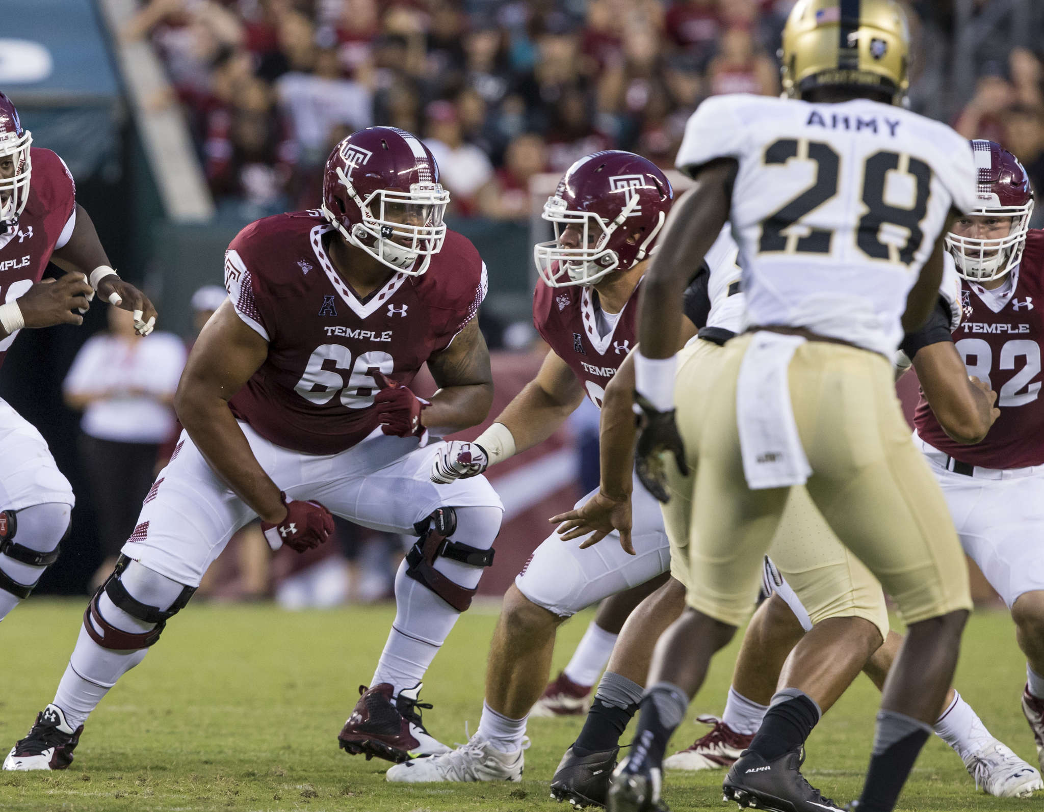 Dion Dawkins (66) hasbecome a top offensive lineman for the Owls. TEMPLE UNIVERSITY