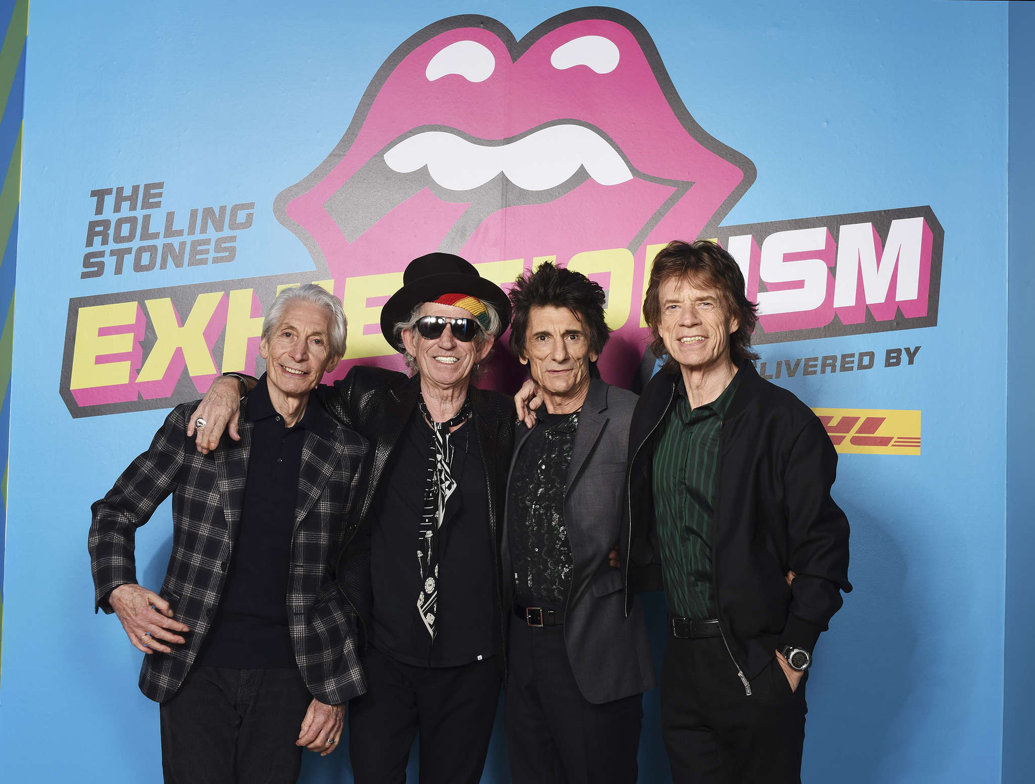 """The Rolling Stones: (from left) Charlie Watts, Keith Richards, Ronnie Wood, and Mick Jagger at a preview for their show """"Exhibitionism."""" It has opened in lower Manhattan after five months in London."""
