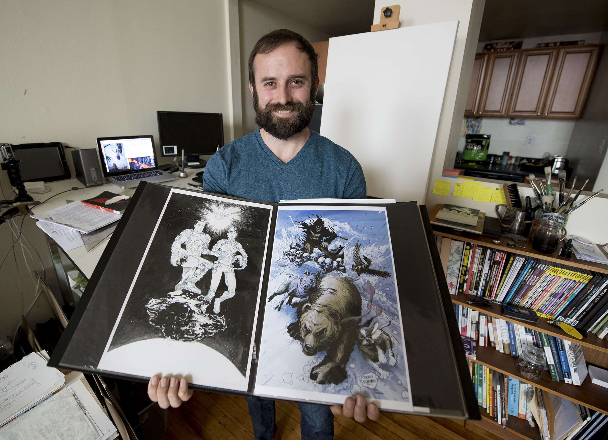 Derek Rodenbeck, who came home with PTSD, says a St. Joseph University program gave him the nudge he needed. He has been hired to work on a comic book based on a movie screenplay.