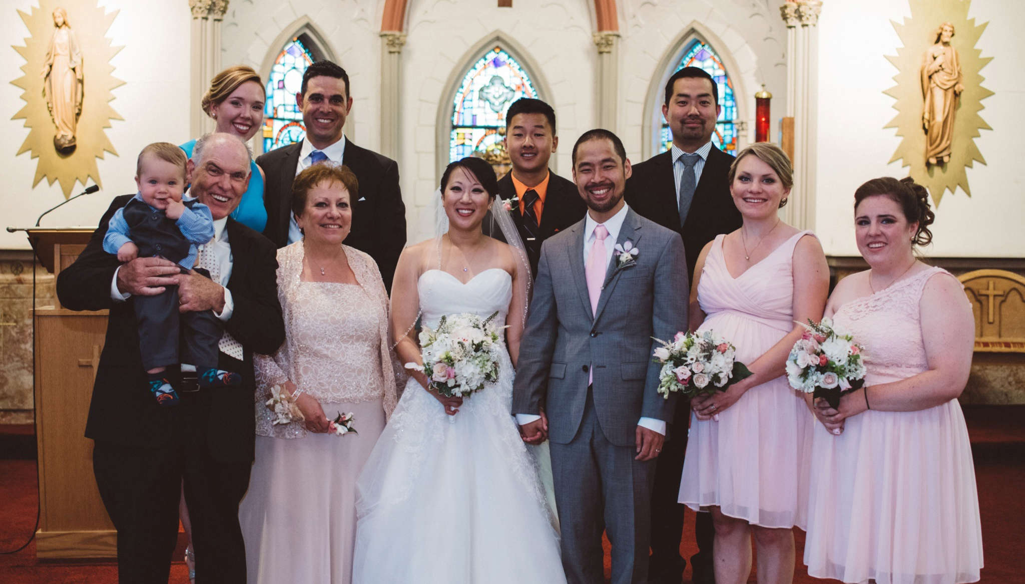 Elisabeth McPeak and Arthur Sato with their families.
