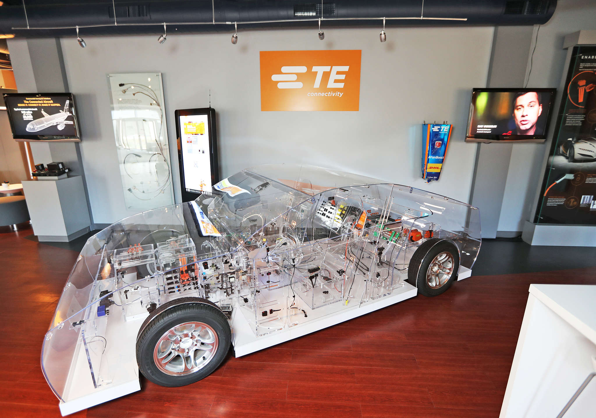 A full-size Plexiglas car, featuring hundreds of TE-built parts, at the company´s headquarters.