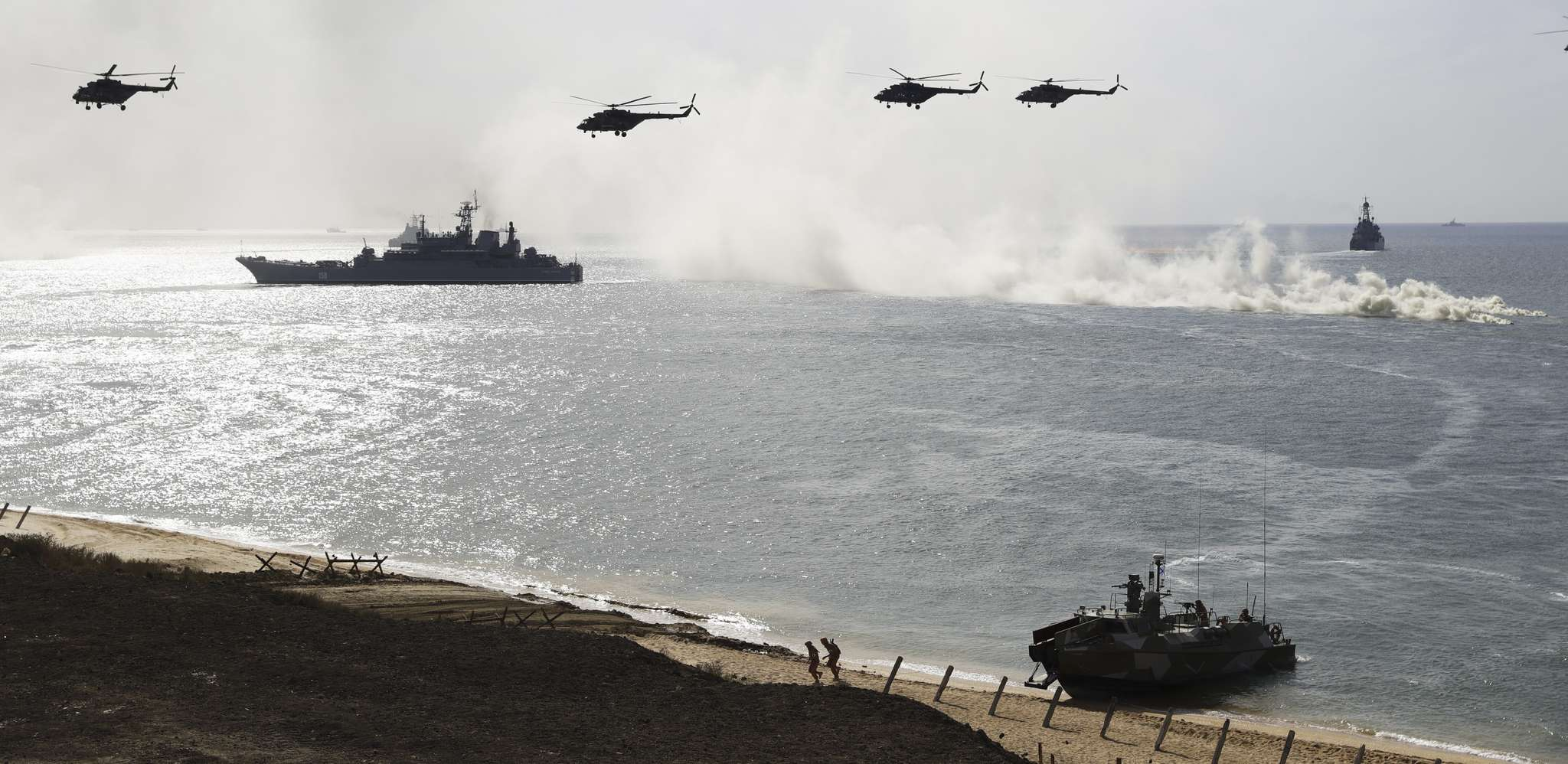 Russian military ships and helicopters taking part in drills at the Black Sea coast of Crimea in September.