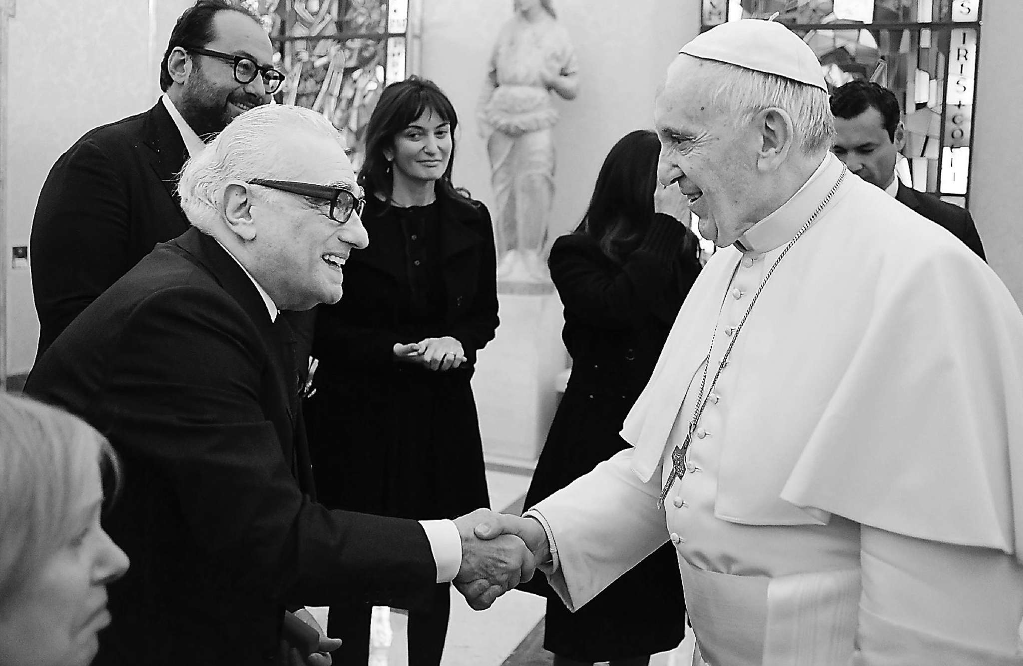 "Pope Francis proves once again he´s a good sport. Here he is at the Vatican greeting Hollywood legend Martin Scorsese, who long ago directed a, well, controversial flick called ""The Last Temptation of Christ."" Scorsese met with the pontiff ahead of a special screening of his new film ""Silence."""
