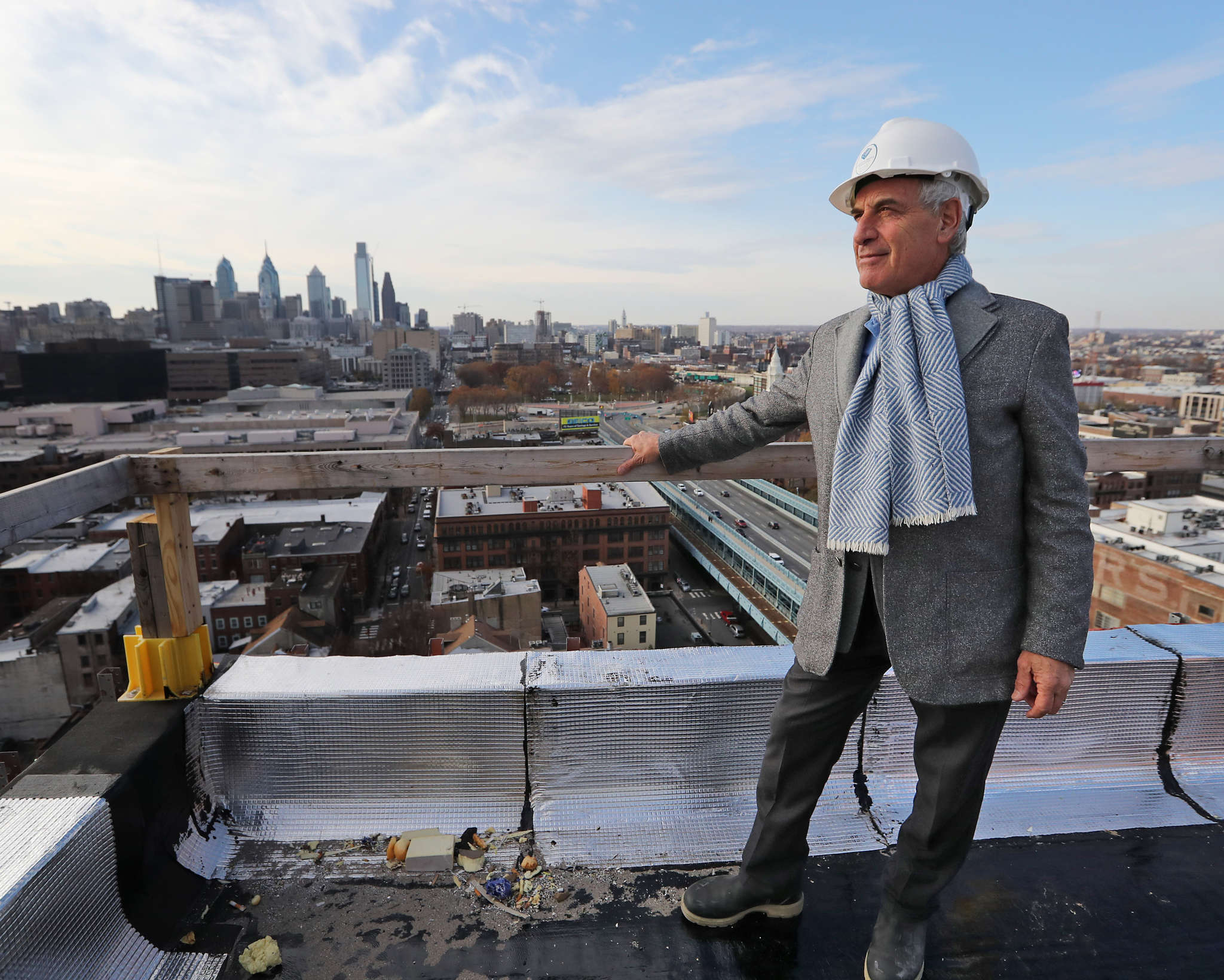 Jeffrey Brown on the roof of his BRIDGE project at 205 Race St., which will have 146 rental units.